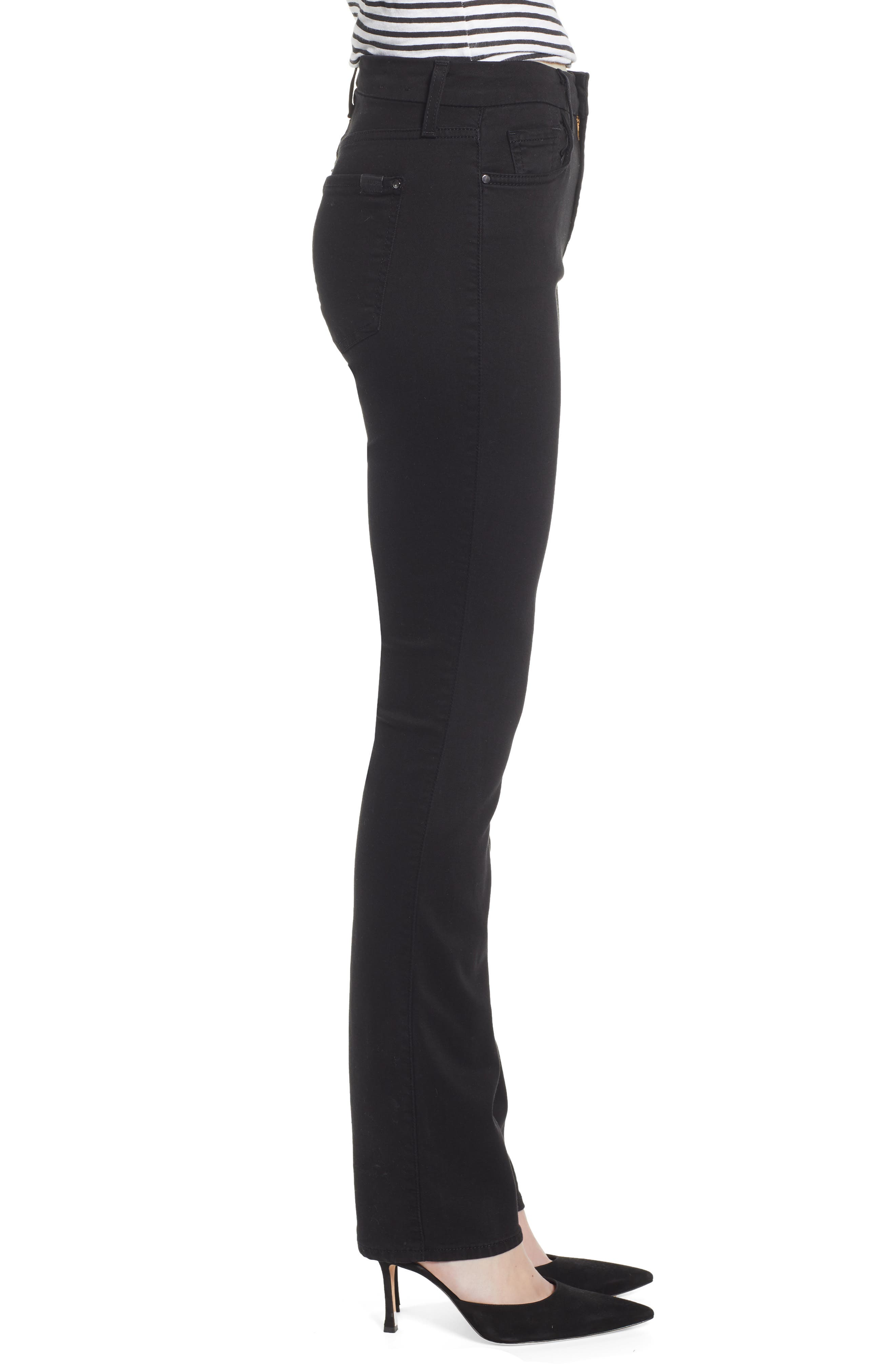 JEN7 BY 7 FOR ALL MANKIND, Stretch Slim Straight Leg Jeans, Alternate thumbnail 3, color, CLASSIC BLACK NOIR