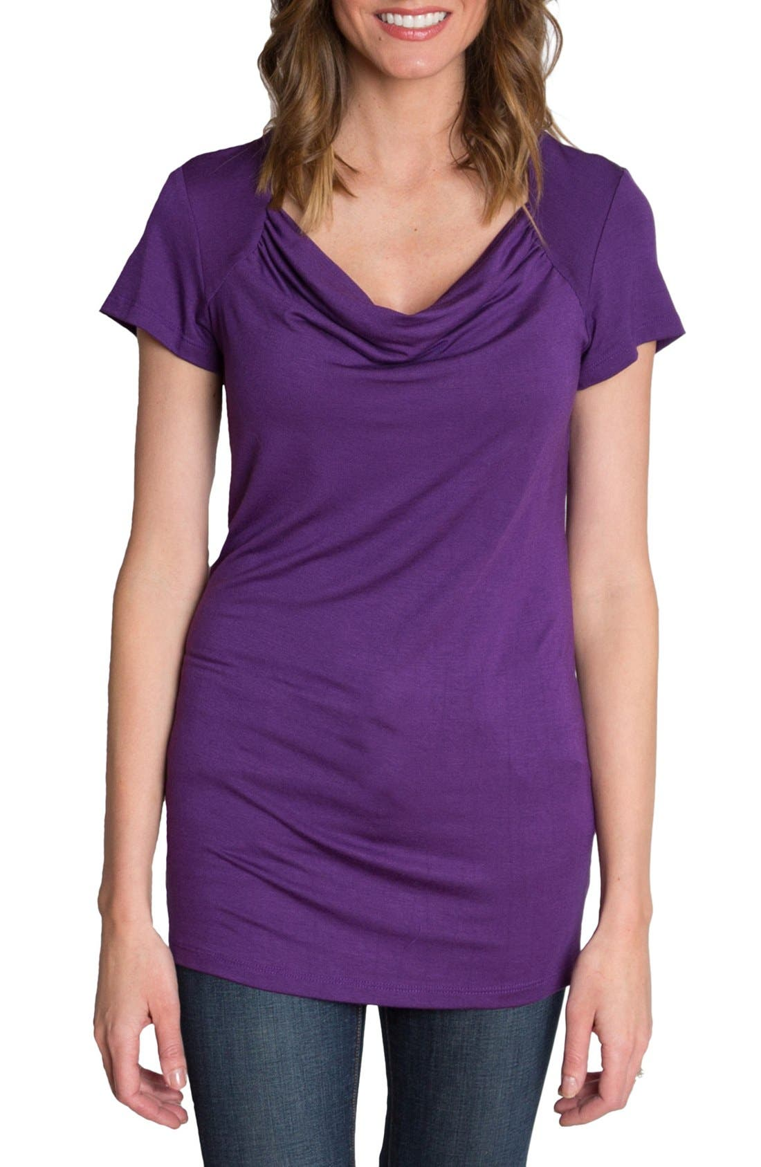 UDDERLY HOT MAMA, 'Chic' Cowl Neck Nursing Tee, Main thumbnail 1, color, PURPLE