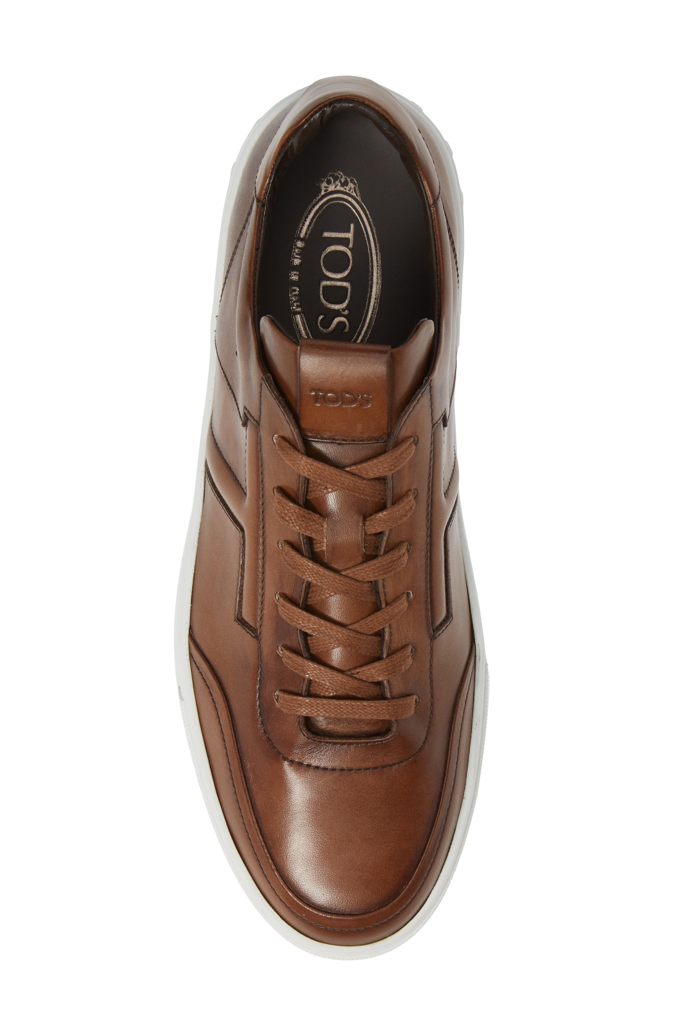 TOD'S, 'Cassetta' Sneaker, Alternate thumbnail 5, color, CARAMEL/ SPECIAL LEATHER