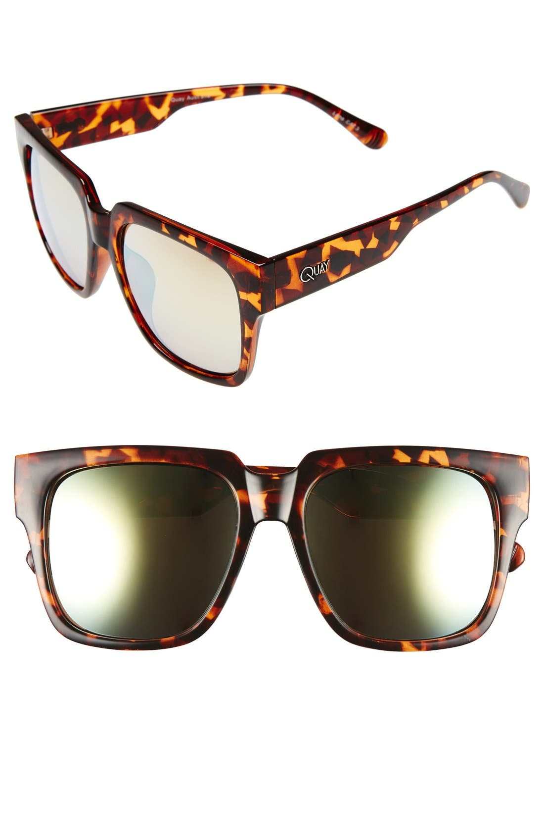 QUAY AUSTRALIA, 'On the Prowl' 55mm Square Sunglasses, Main thumbnail 1, color, 210