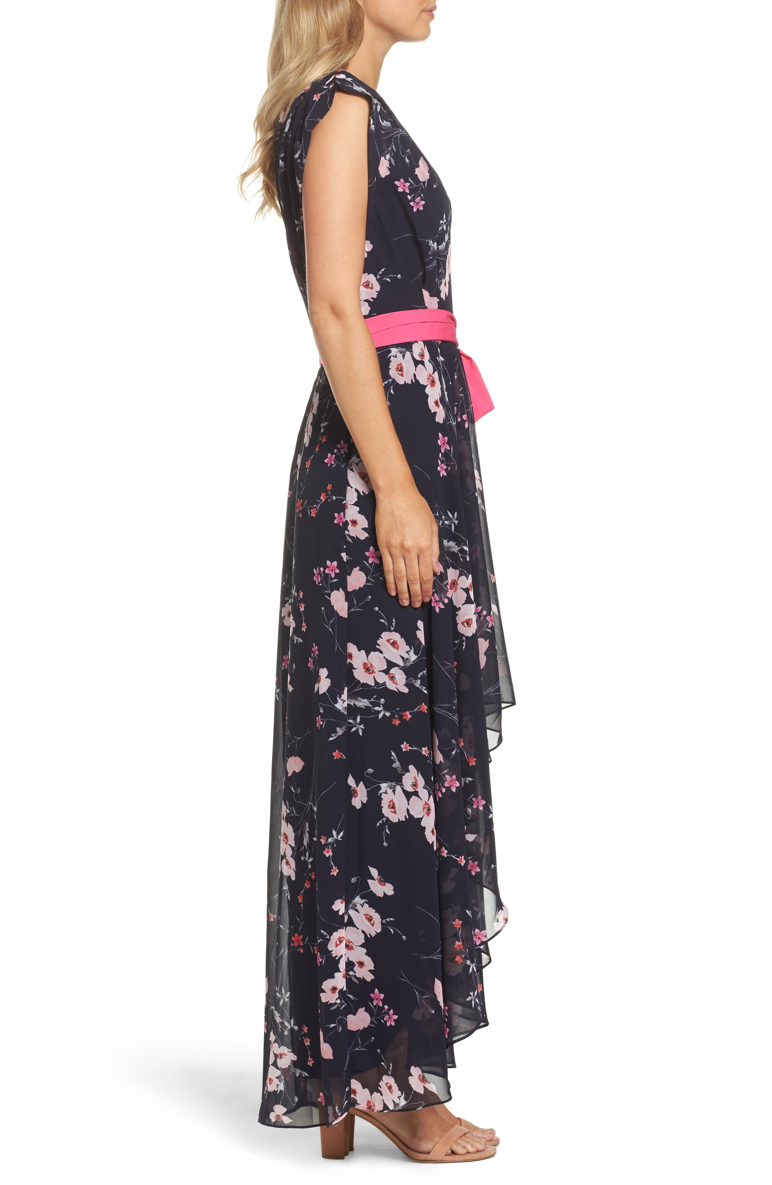 ELIZA J, High/Low Floral Faux Wrap Dress, Alternate thumbnail 4, color, NAVY/ PINK