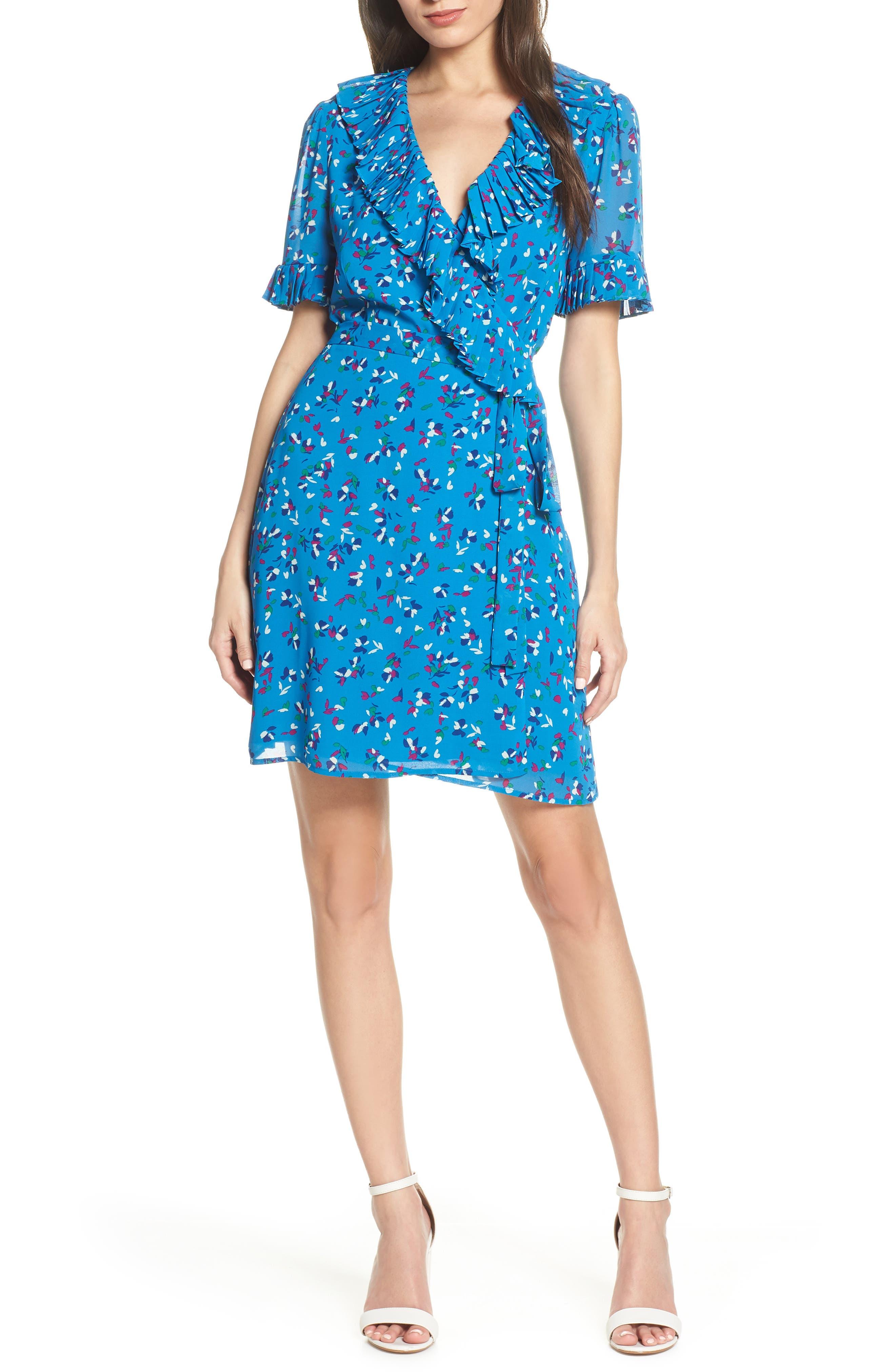 CHARLES HENRY, Pleat Neck Wrap Dress, Main thumbnail 1, color, BLUE FLORAL DITZY