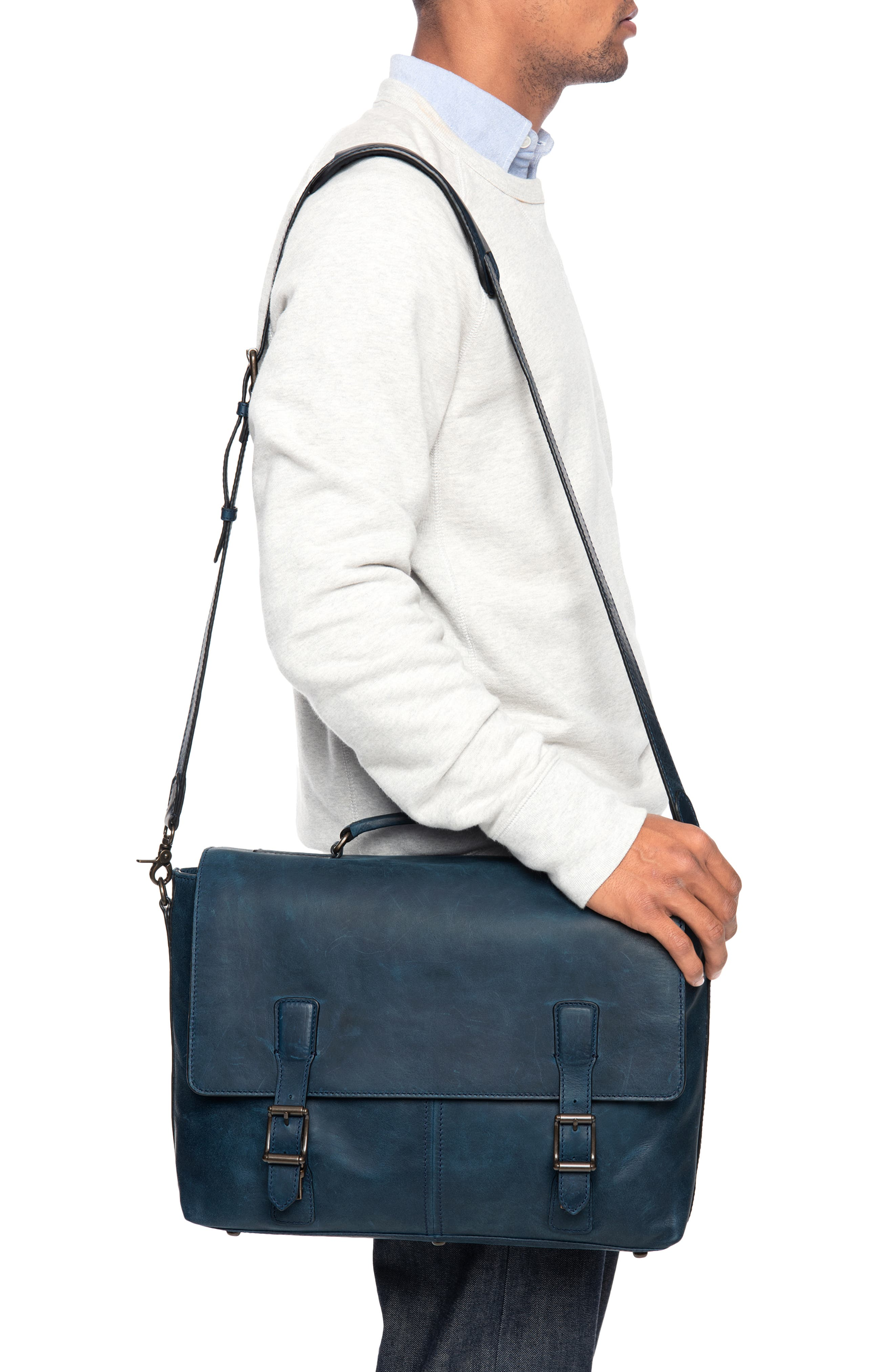 FRYE, Logan Leather Briefcase, Alternate thumbnail 2, color, NAVY