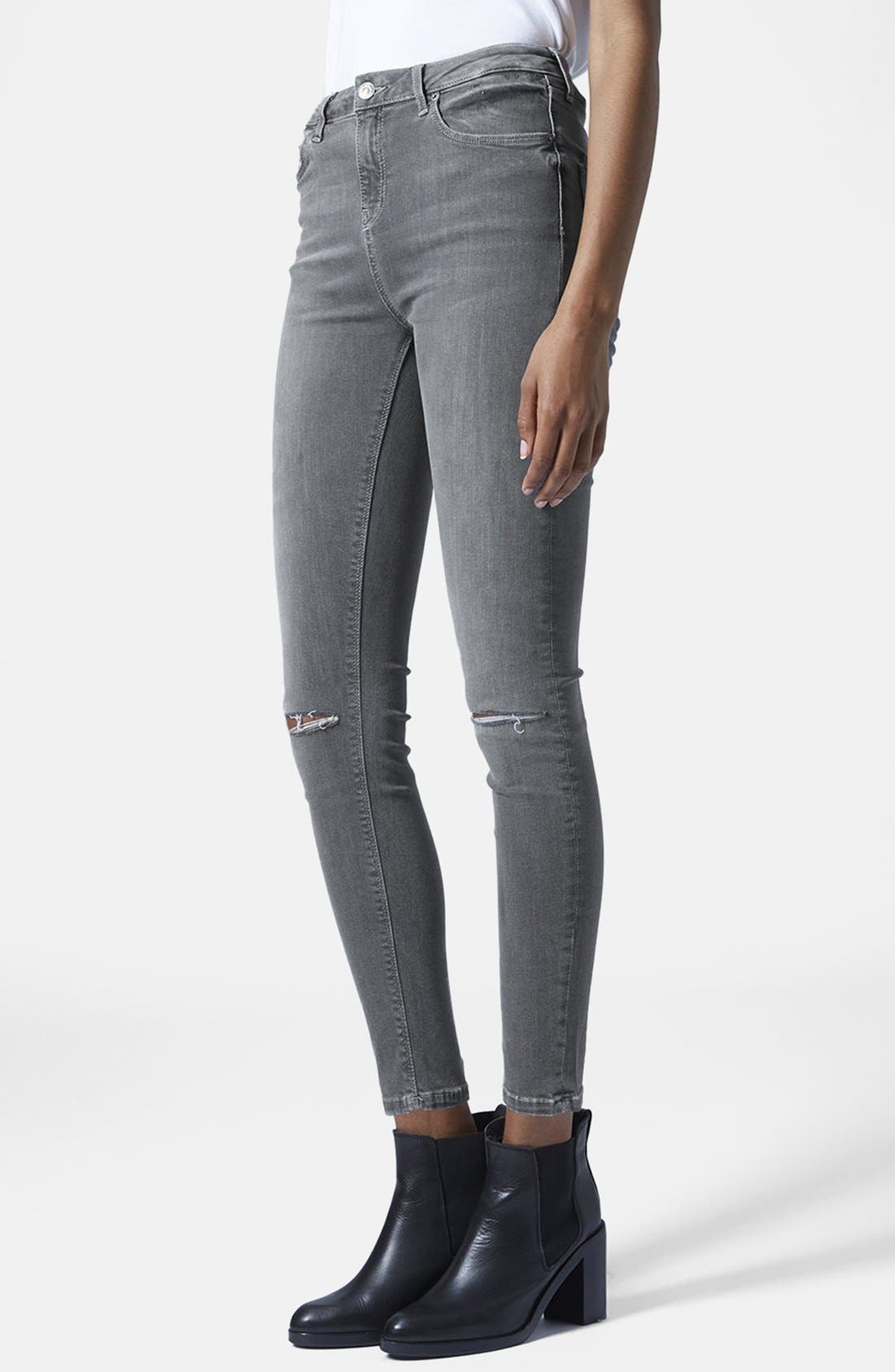 TOPSHOP, Moto 'Jamie' Ripped Skinny Jeans, Main thumbnail 1, color, 020