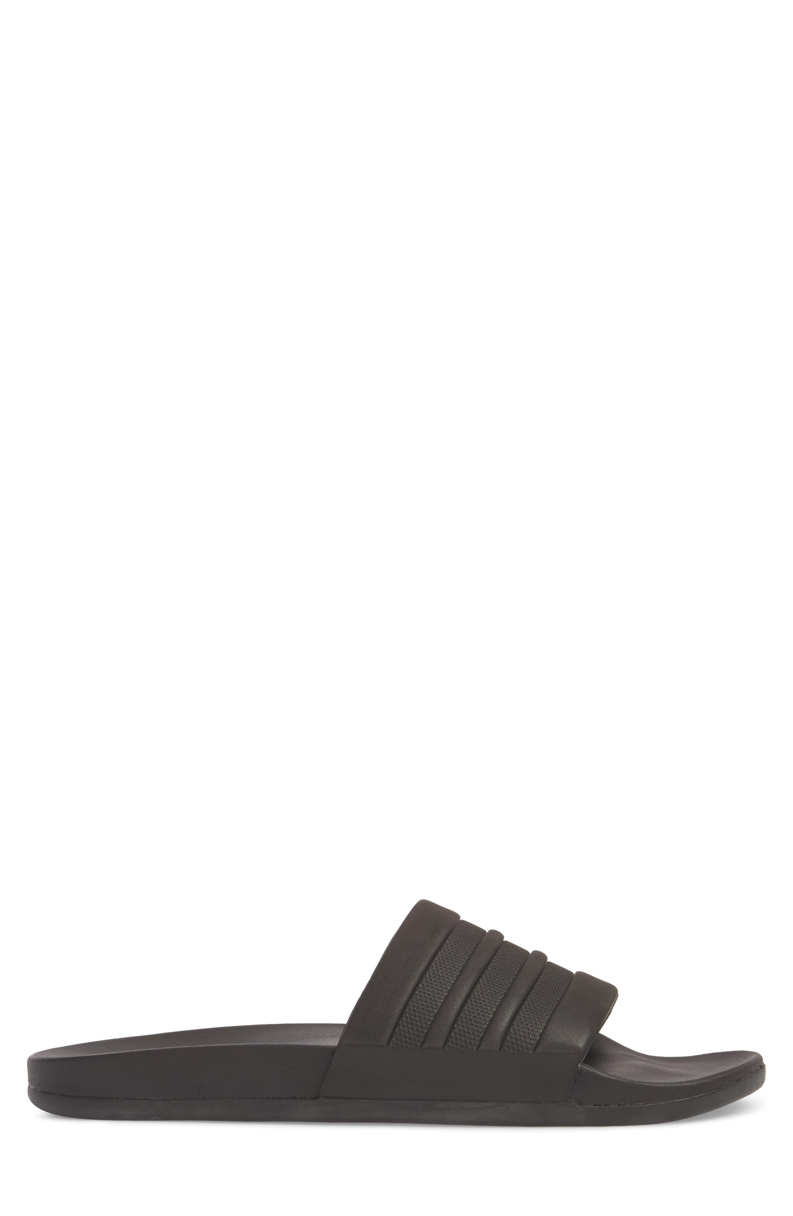ADIDAS, Adilette Cloudfoam Mono Sport Slide Sandal, Alternate thumbnail 3, color, BLACK/ BLACK