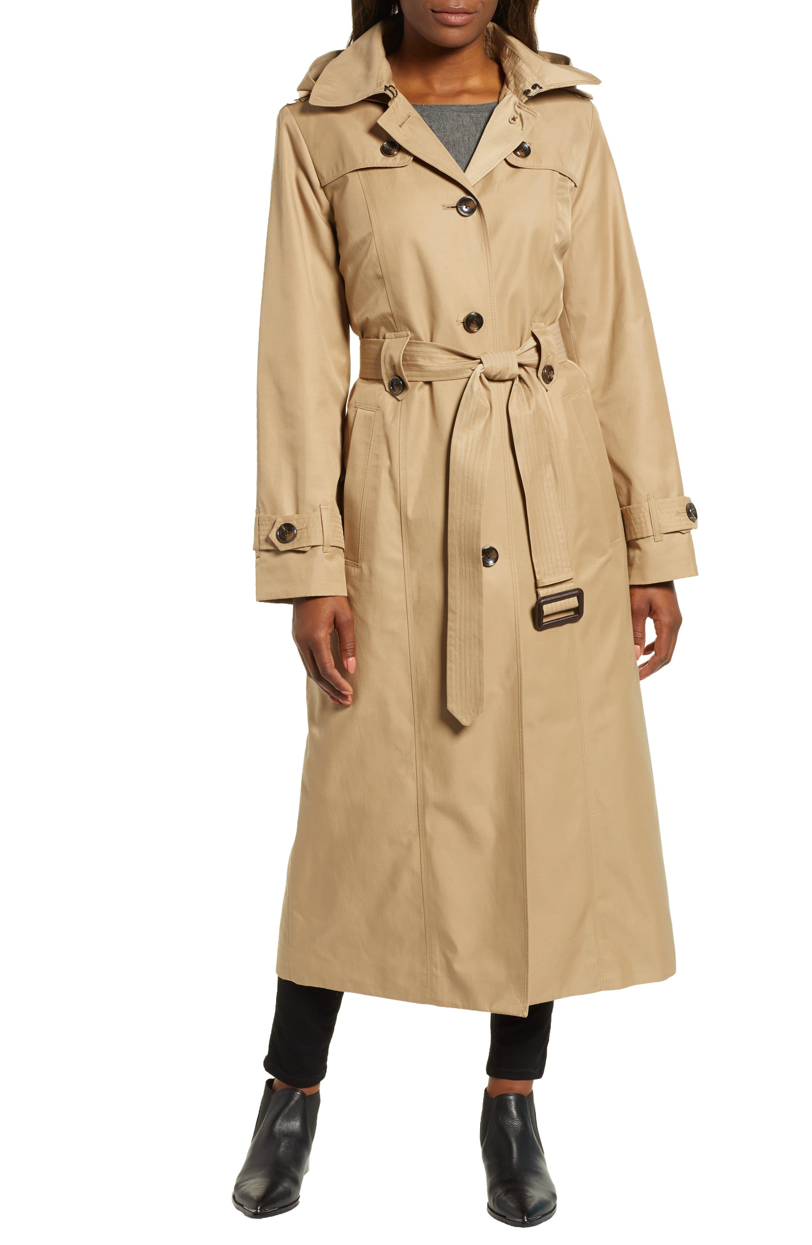LONDON FOG Jill Long Trench Coat, Main, color, KHAKI