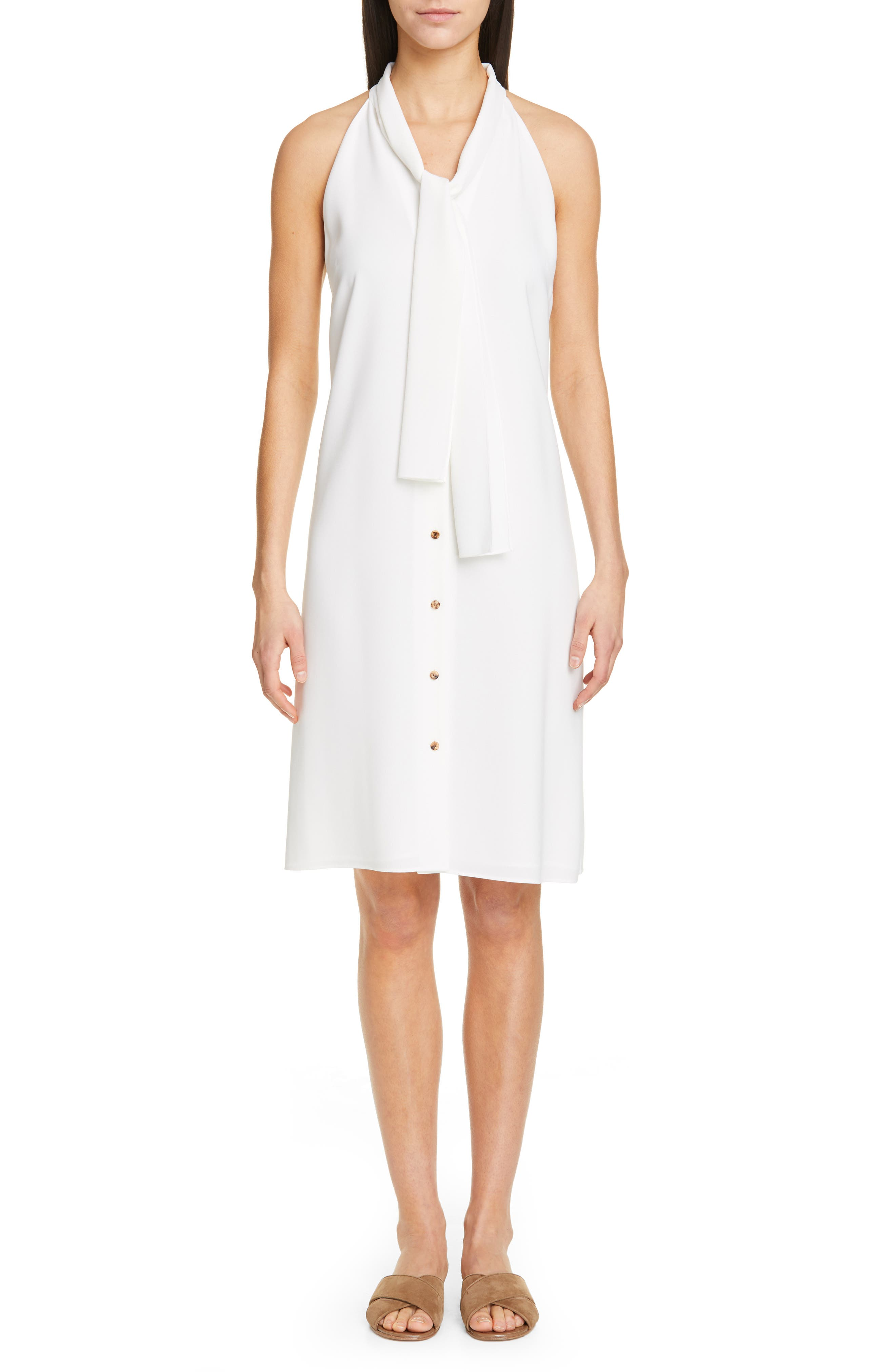 Lafayette 148 New York Amore Finesse Crepe Dress, White