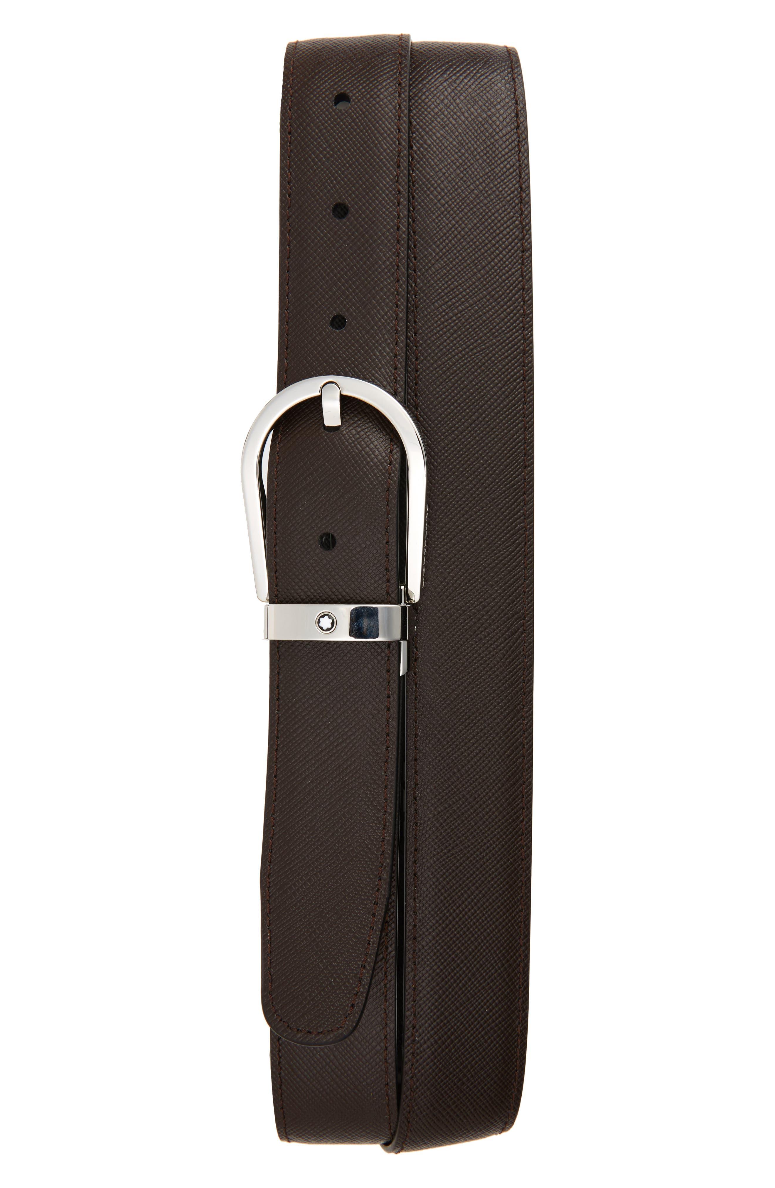 MONTBLANC, Horseshoe Buckle Reversible Sartorial Leather Belt, Alternate thumbnail 2, color, BLACK/ BROWN