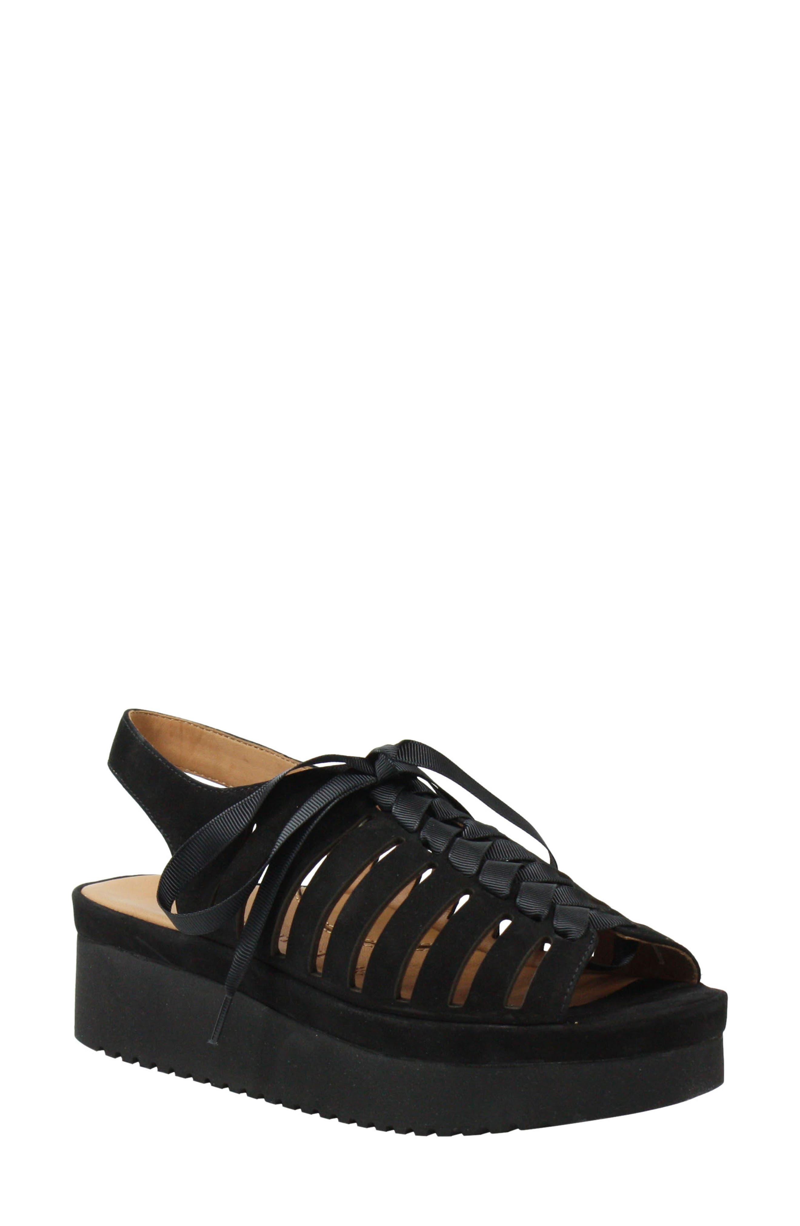 L'AMOUR DES PIEDS, Amarli Sandal, Main thumbnail 1, color, BLACK NUBUCK LEATHER