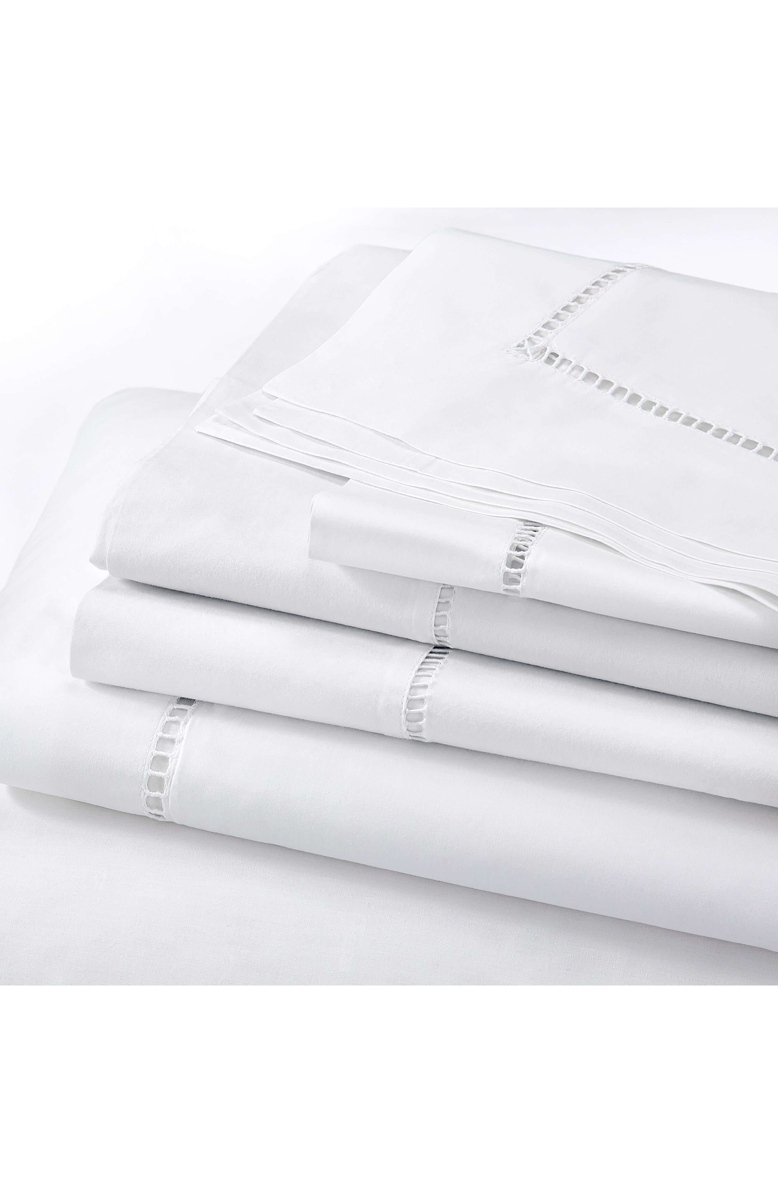 THE WHITE COMPANY, Santorini Cotton Flat Sheet, Main thumbnail 1, color, WHITE
