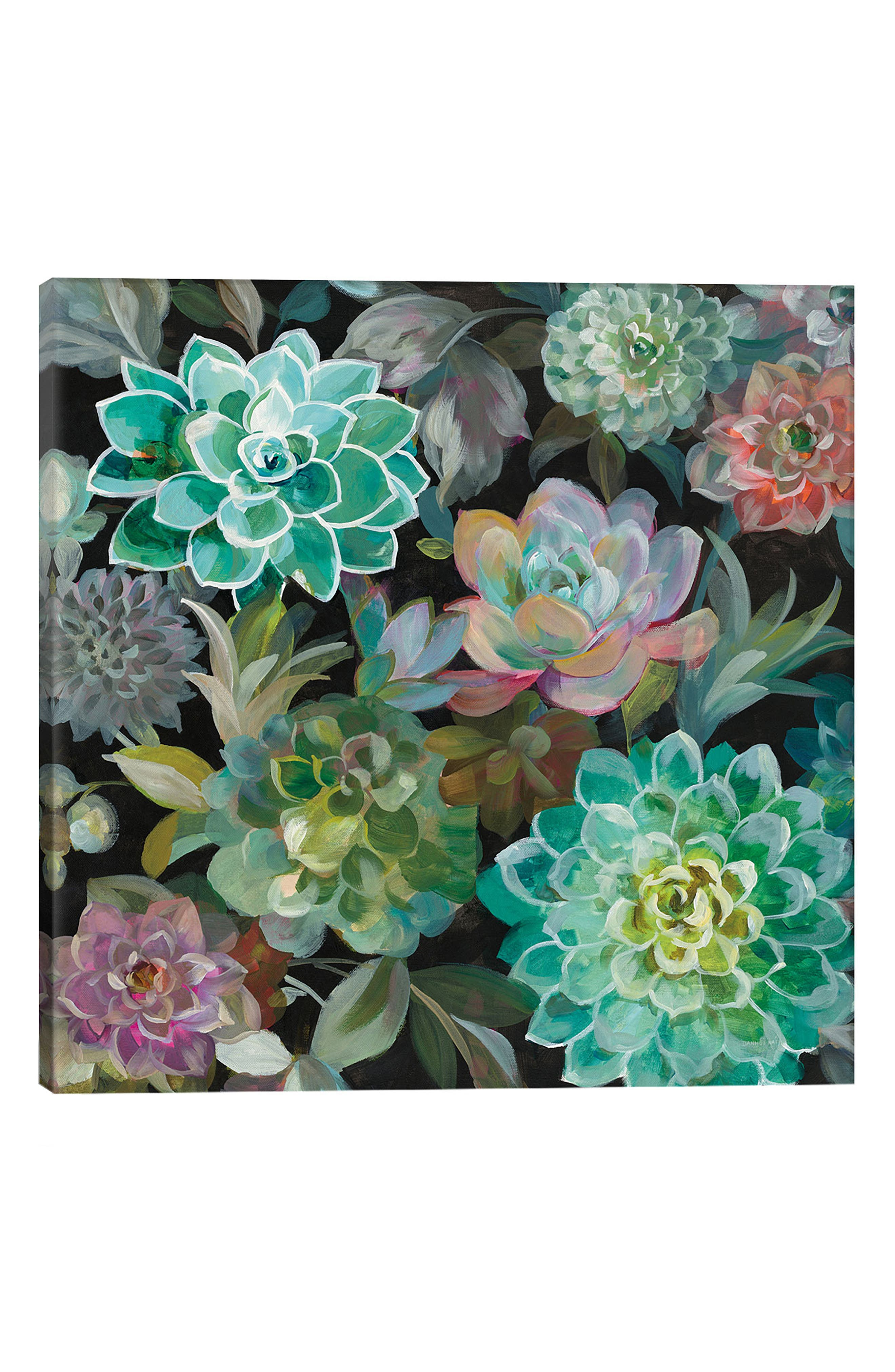 ICANVAS, Floral Succulents by Danhui Nai Giclée Print Canvas Art, Main thumbnail 1, color, GREEN