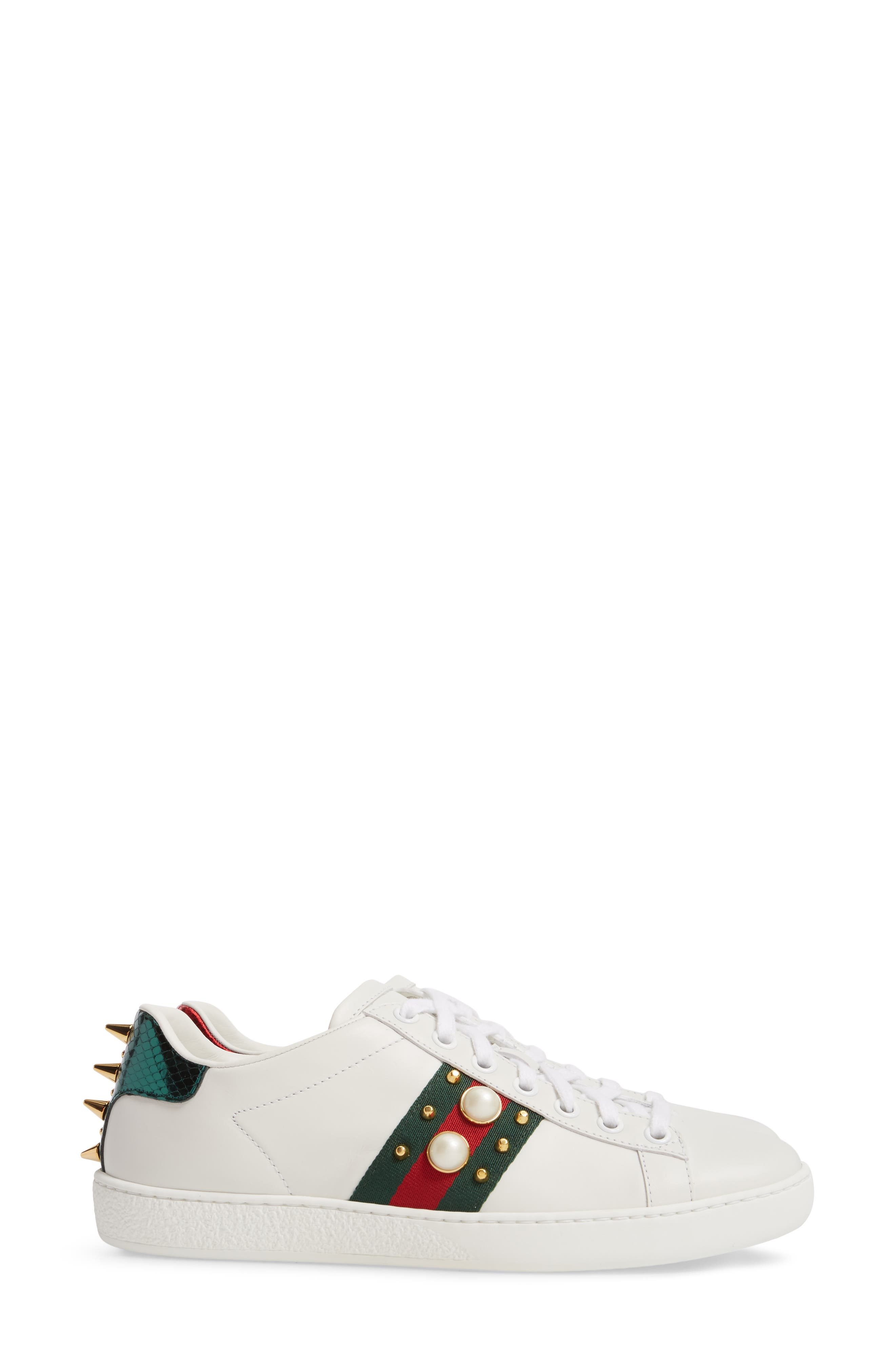 GUCCI, New Ace Low Top Sneaker, Alternate thumbnail 3, color, WHITE/ RED