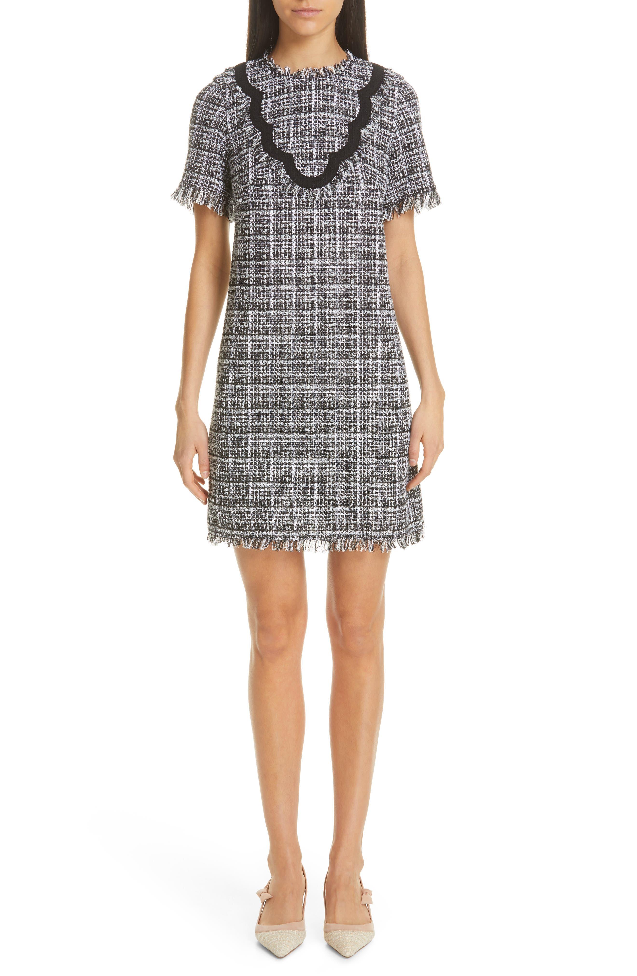 Kate Spade New York Scalloped Detail Tweed Dress, Black