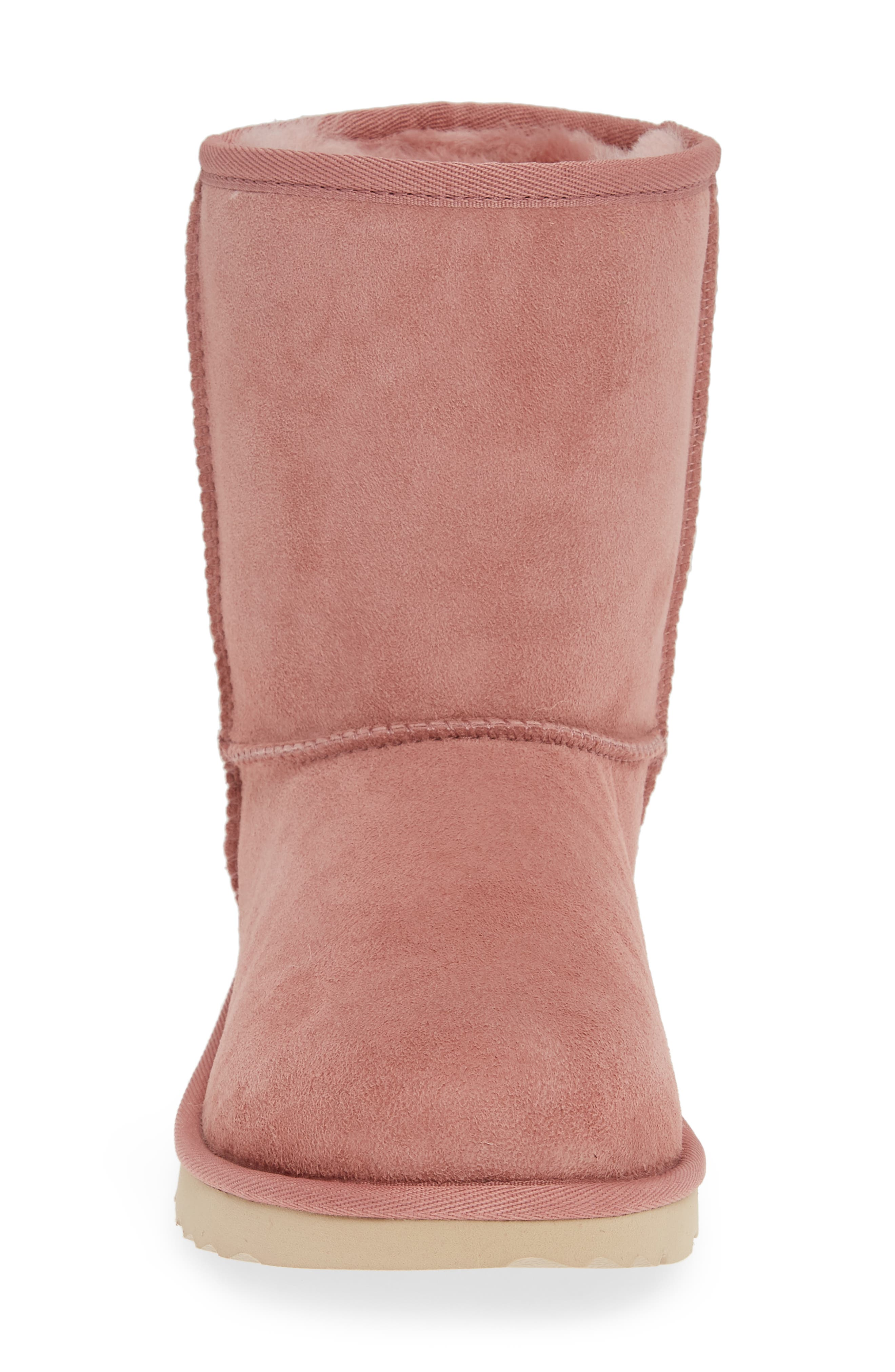 UGG<SUP>®</SUP>, Classic Short II Water Resistant Genuine Shearling Boot, Alternate thumbnail 4, color, PINK DAWN