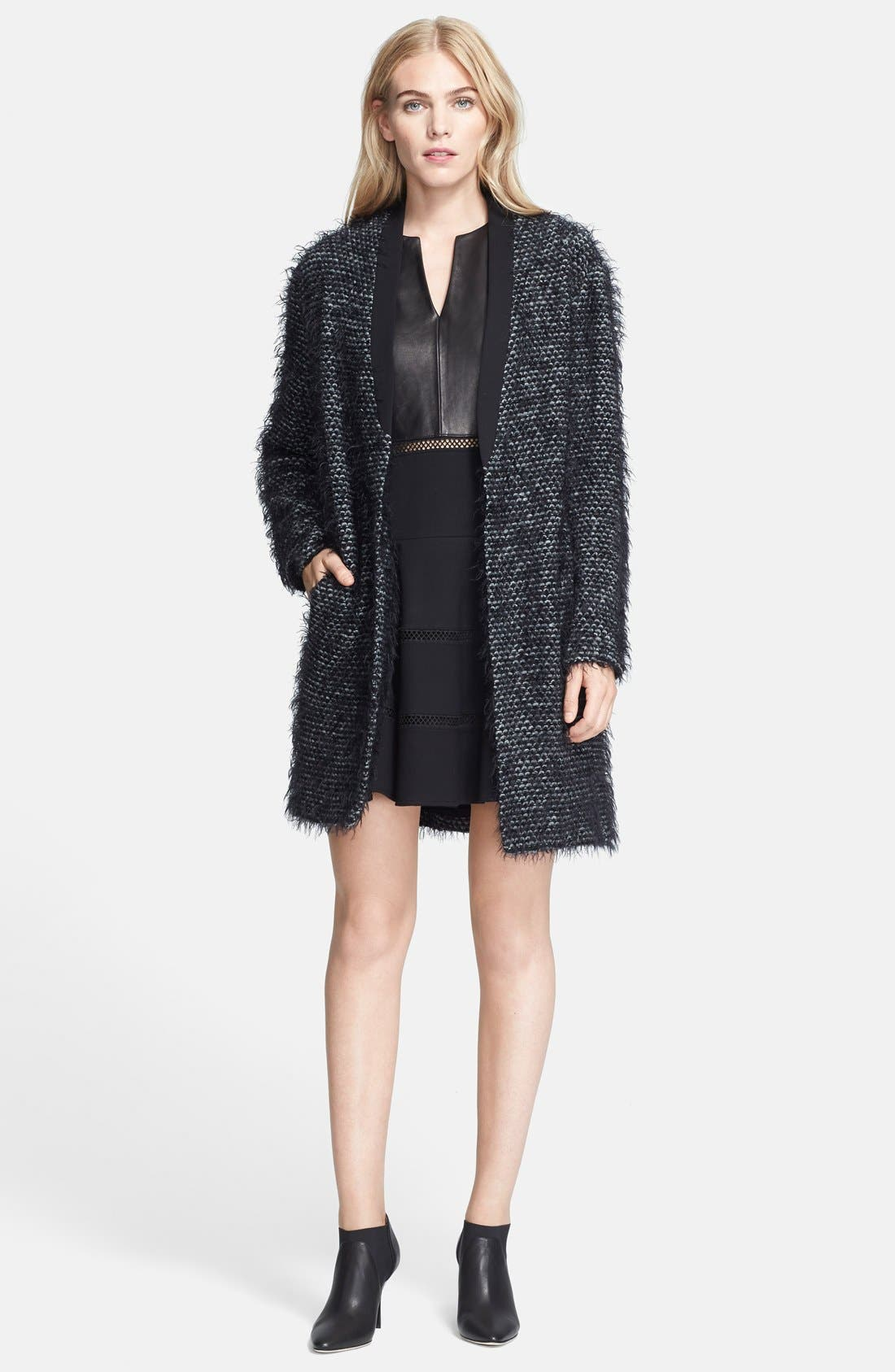 TIBI, Tweed Long Coat, Main thumbnail 1, color, 006