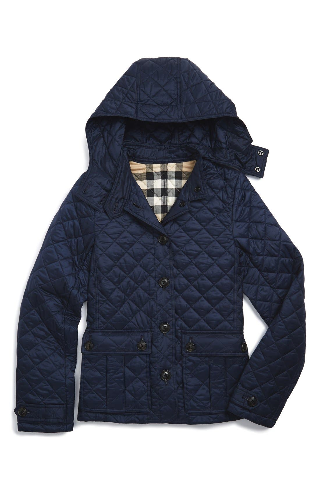BURBERRY, 'Tiggsmoore' Diamond Quilted Jacket, Main thumbnail 1, color, 409
