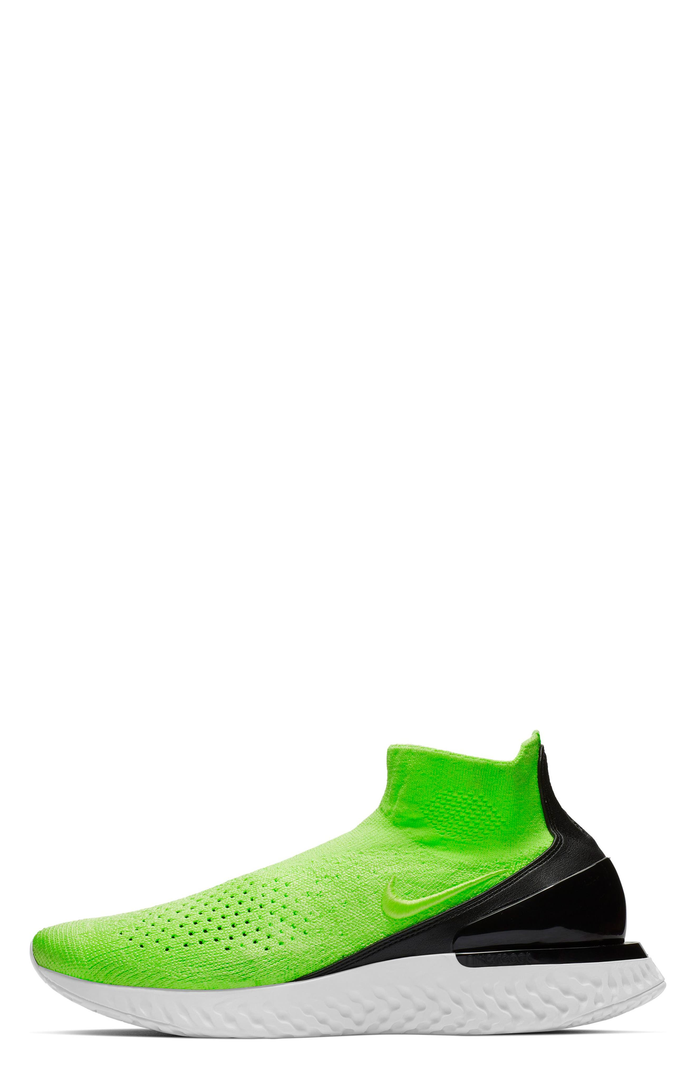 NIKE, Rise React Flyknit Sock Sneaker, Alternate thumbnail 3, color, 330