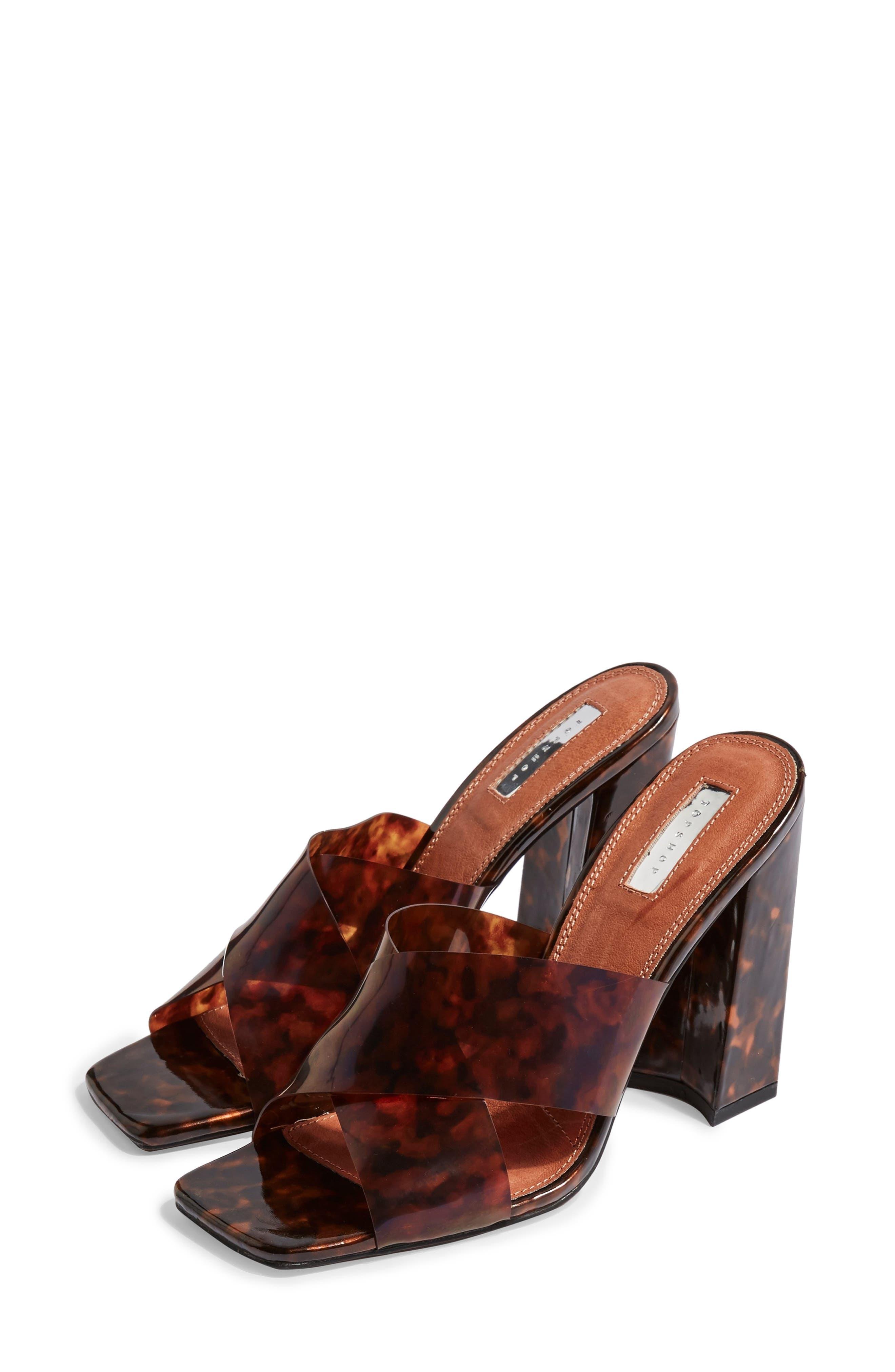 TOPSHOP, Regina Slide Sandal, Main thumbnail 1, color, BROWN MULTI