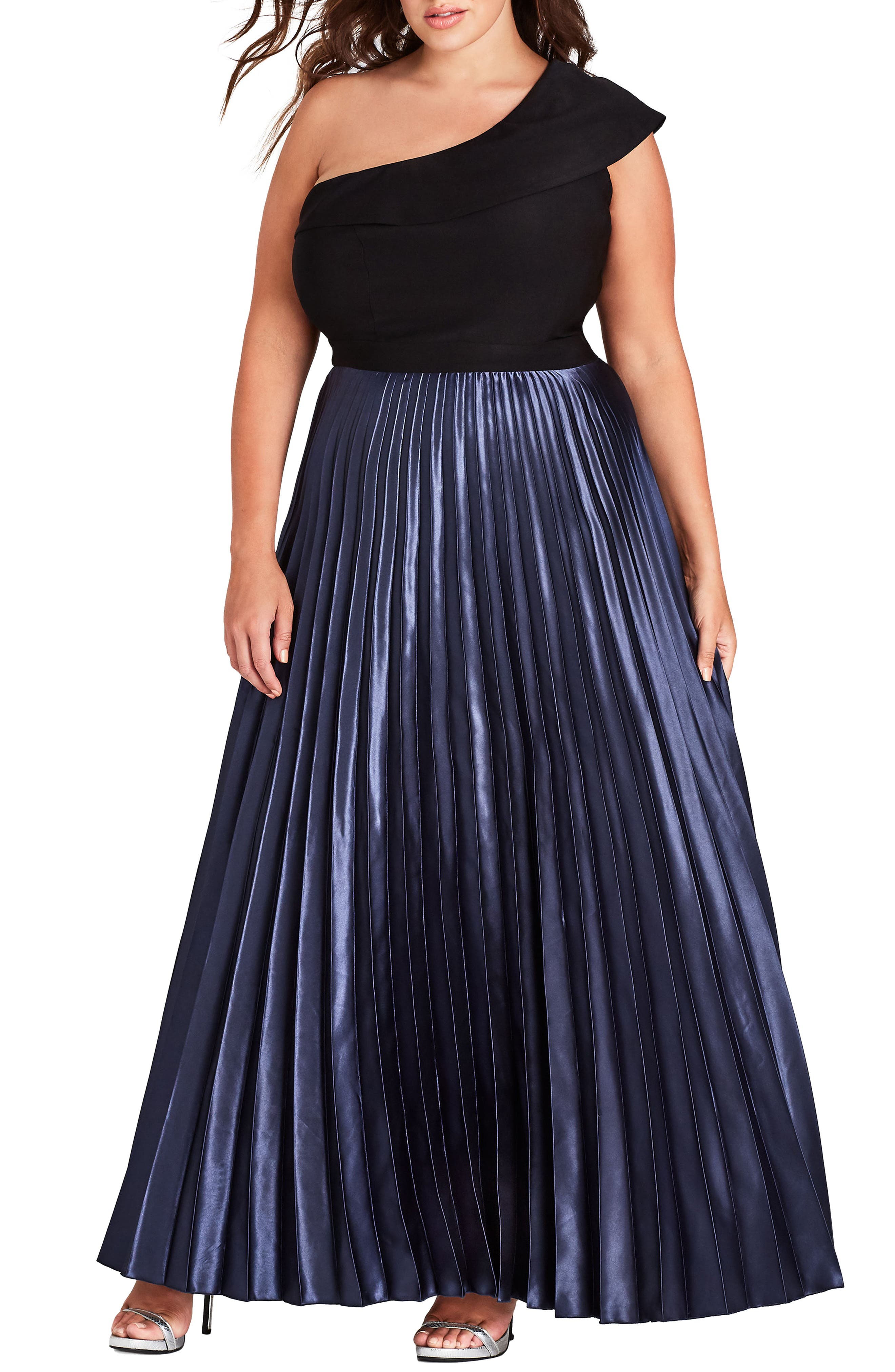 Plus Size City Chic Rosa One Shoulder Pleat Maxi Dress, Black