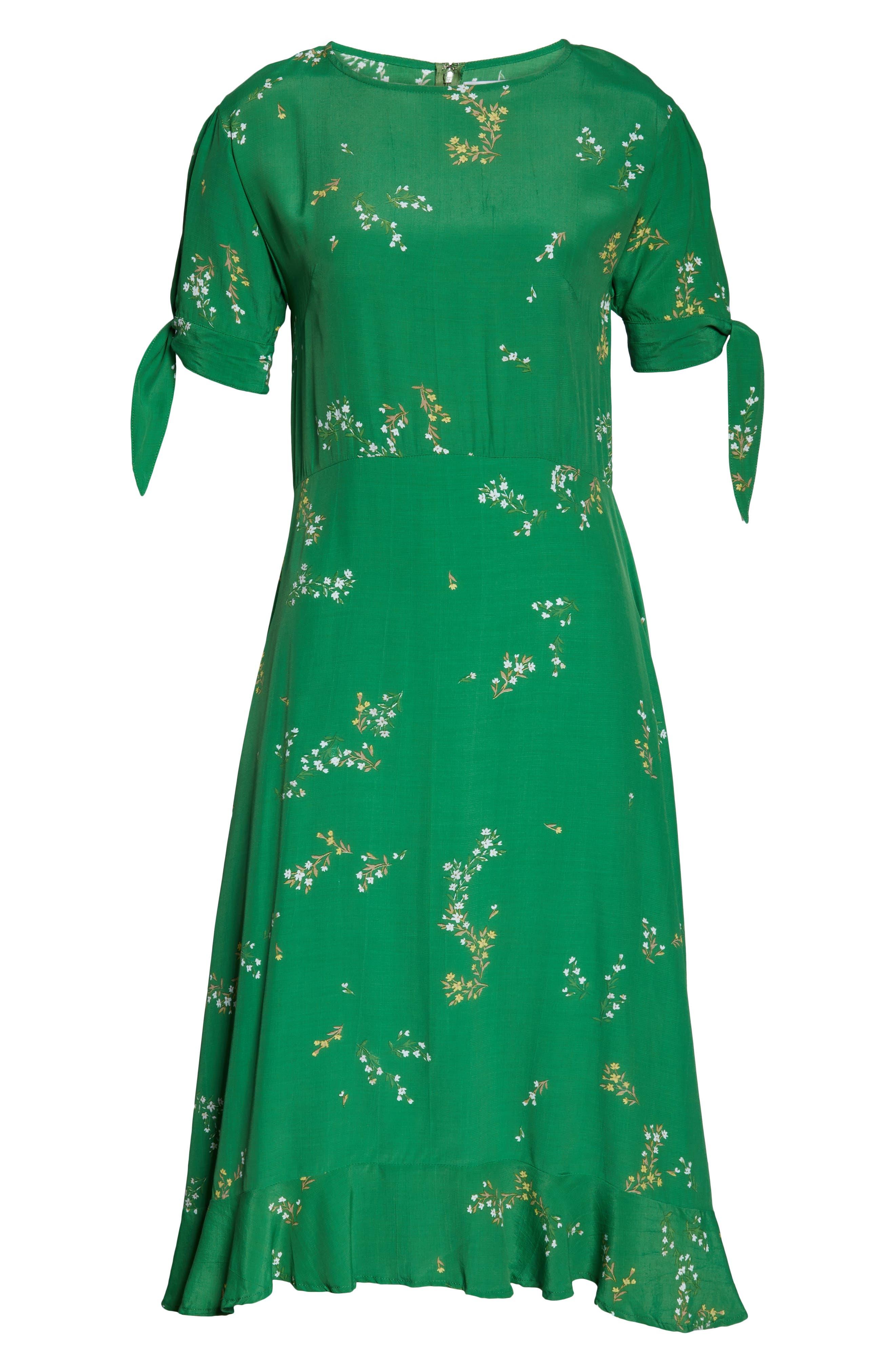FAITHFULL THE BRAND, Emilia Floral Midi Dress, Alternate thumbnail 5, color, MYRTILLE FLORAL PRINT - GREEN