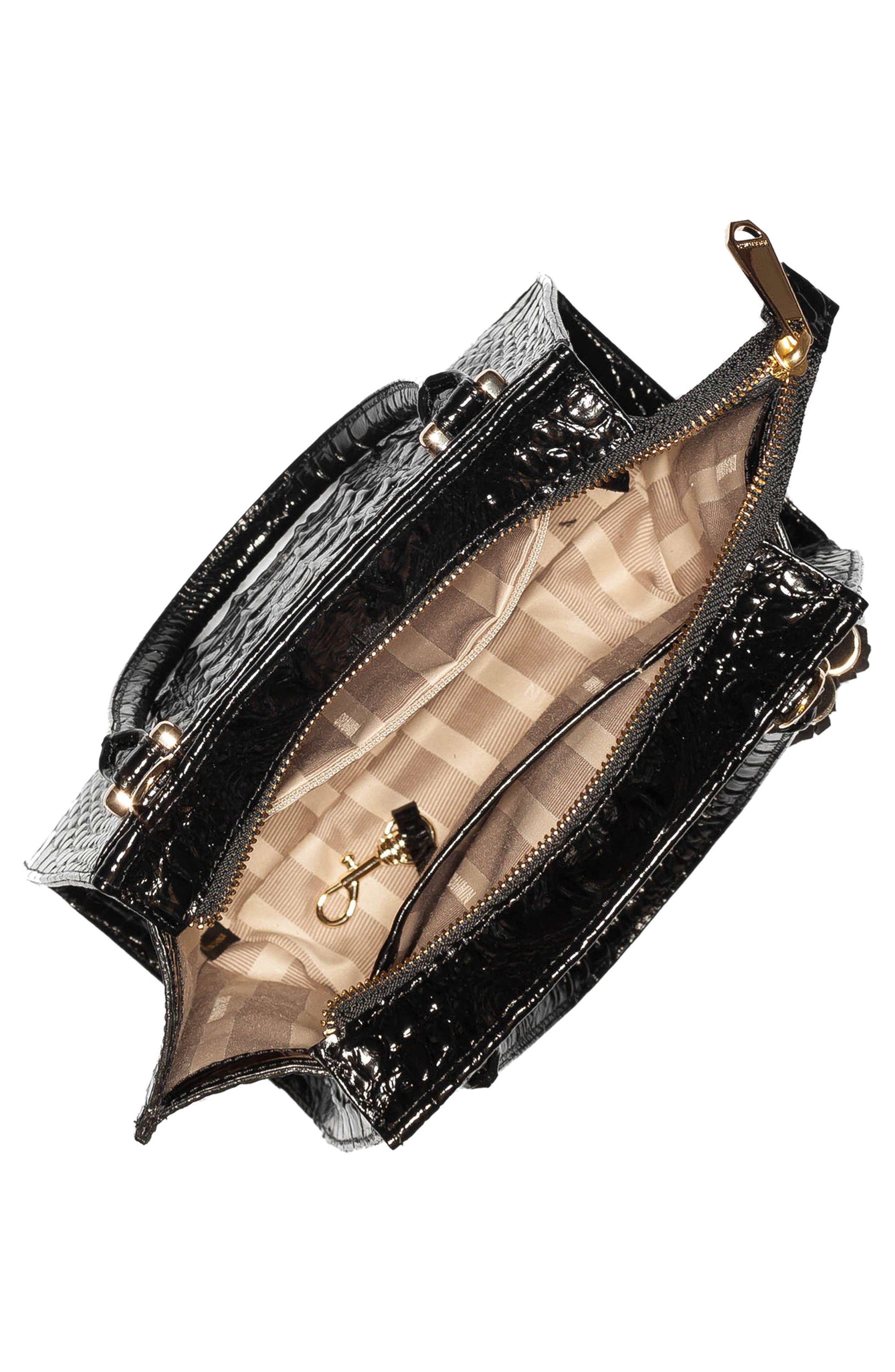 BRAHMIN, Mini Priscilla Studded Suede & Leather Satchel, Alternate thumbnail 3, color, BLACK