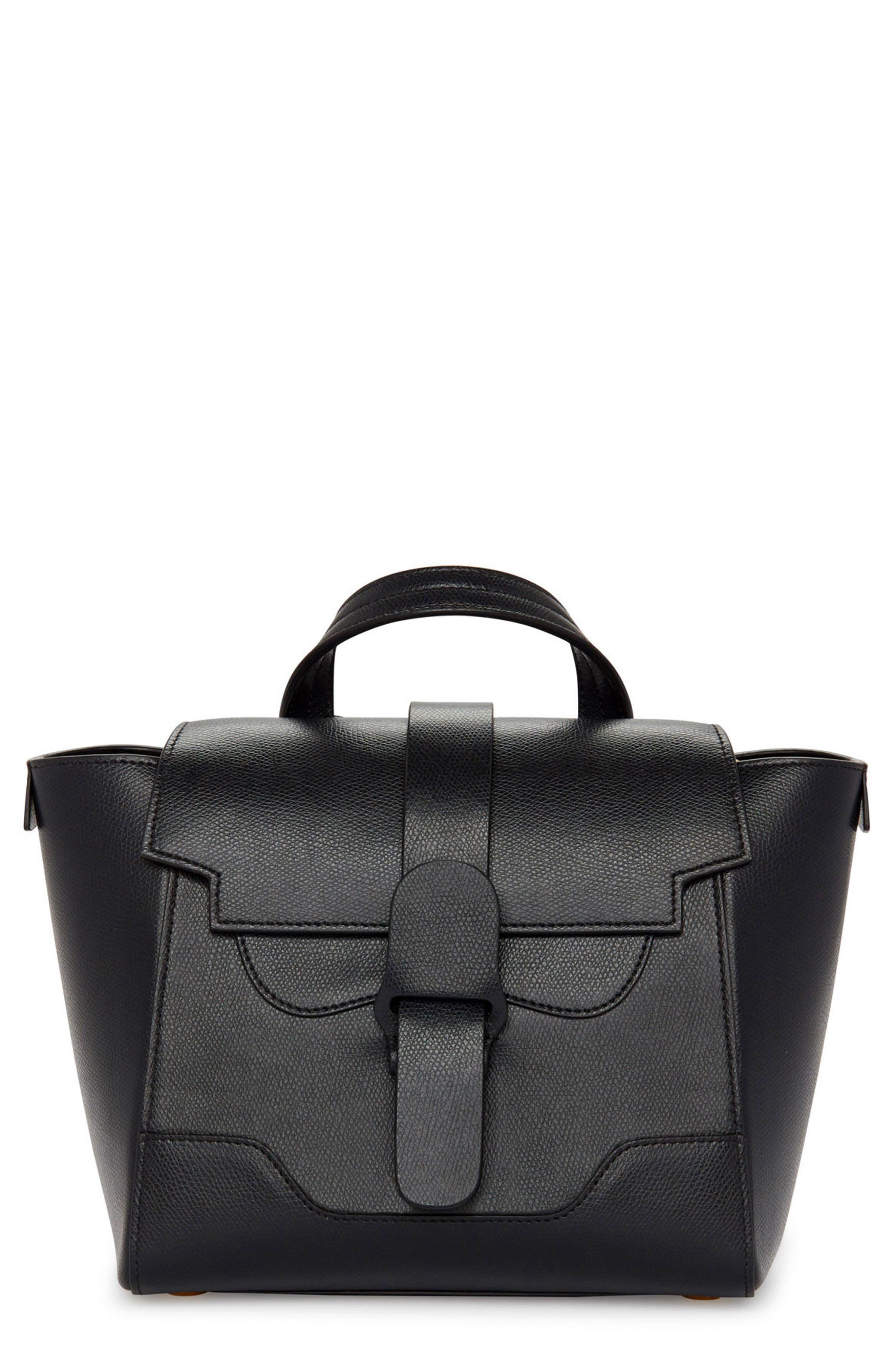 SENREVE Mini Maestra Leather Satchel, Main, color, NOIR