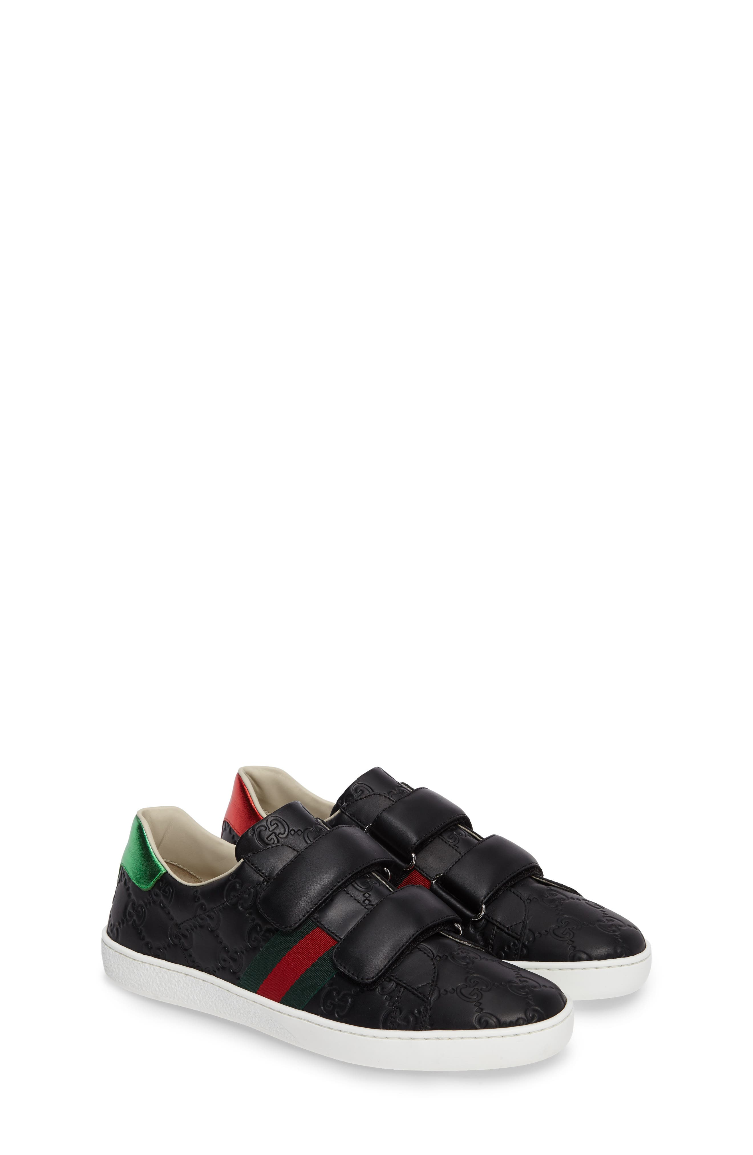 GUCCI, New Ace Sneaker, Alternate thumbnail 2, color, 001
