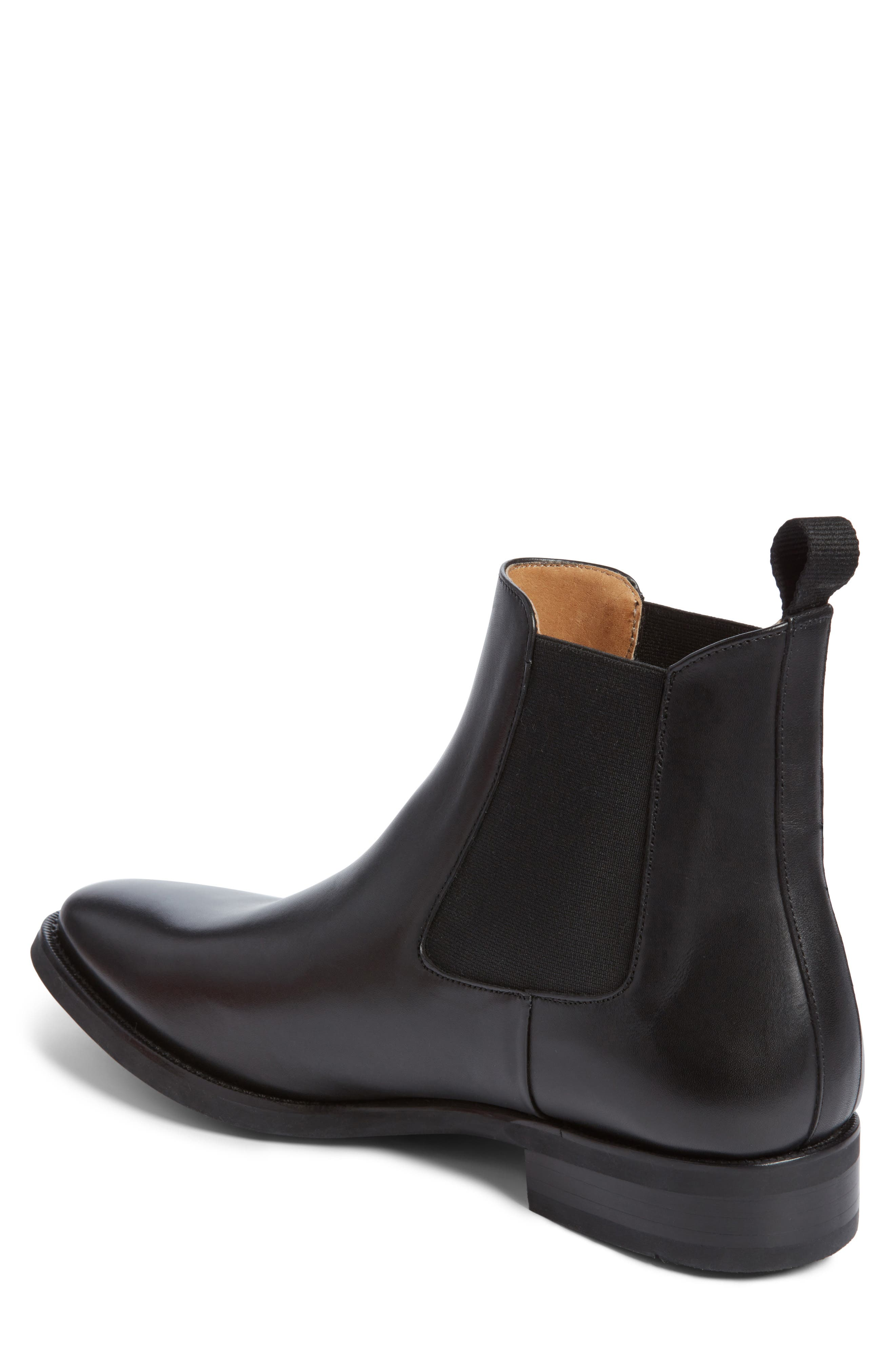 JACK ERWIN, Ellis Water Resistant Chelsea Boot, Alternate thumbnail 2, color, BLACK LEATHER