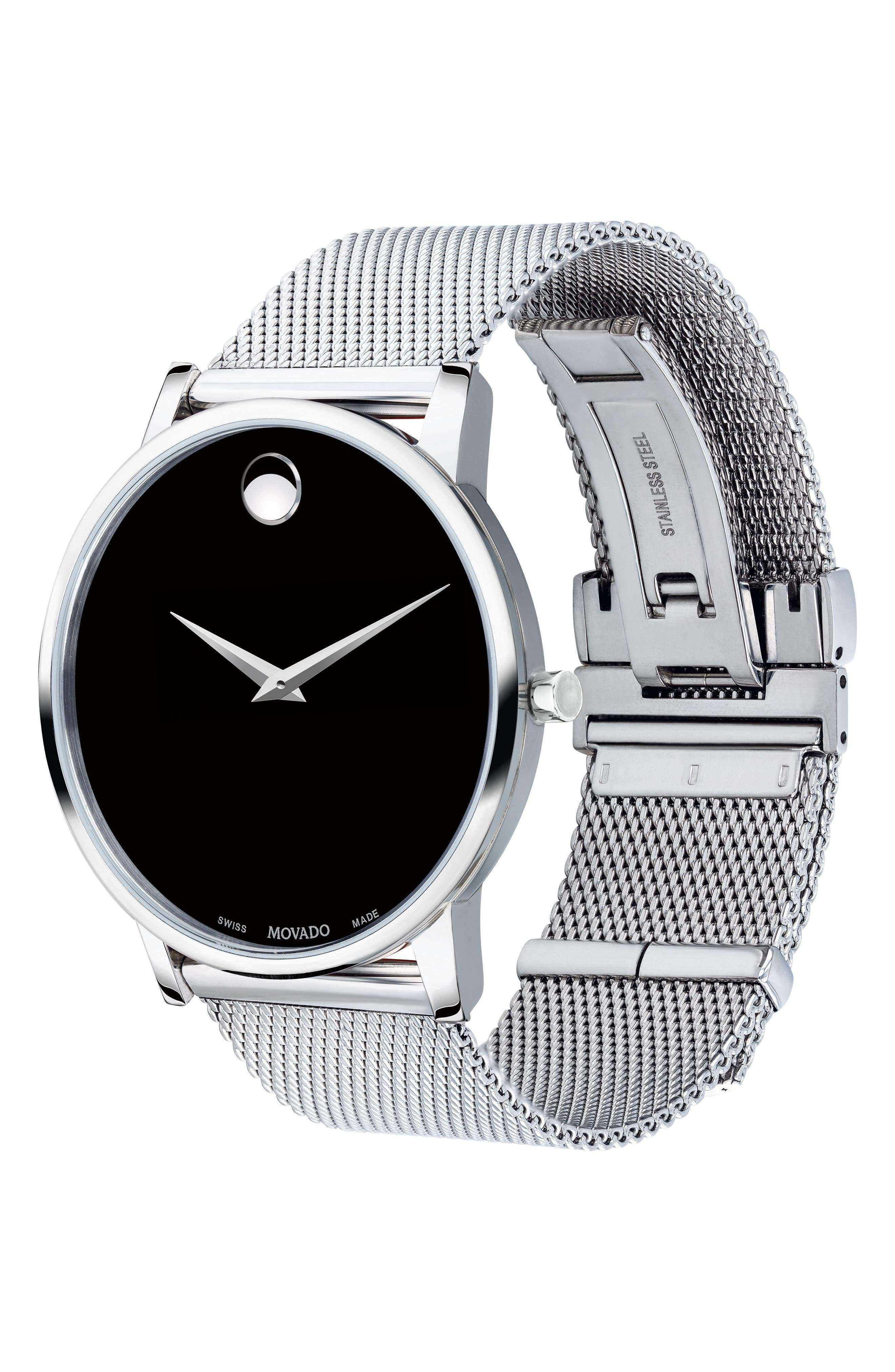 MOVADO, Museum Mesh Strap Watch, 40mm, Alternate thumbnail 3, color, SILVER/ BLACK/ SILVER