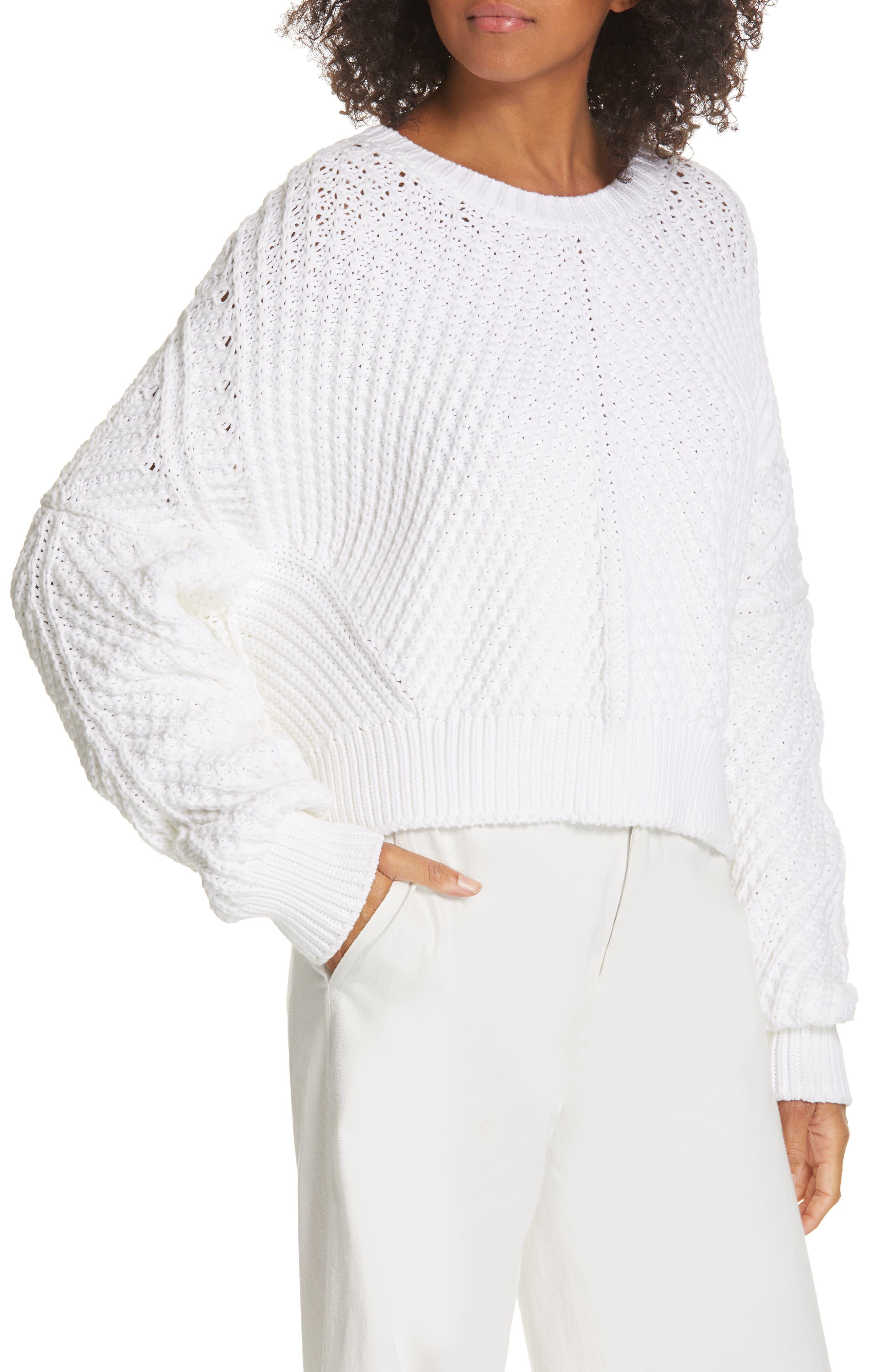 VINCE, Rib Knit Sweater, Alternate thumbnail 4, color, OPTIC WHITE