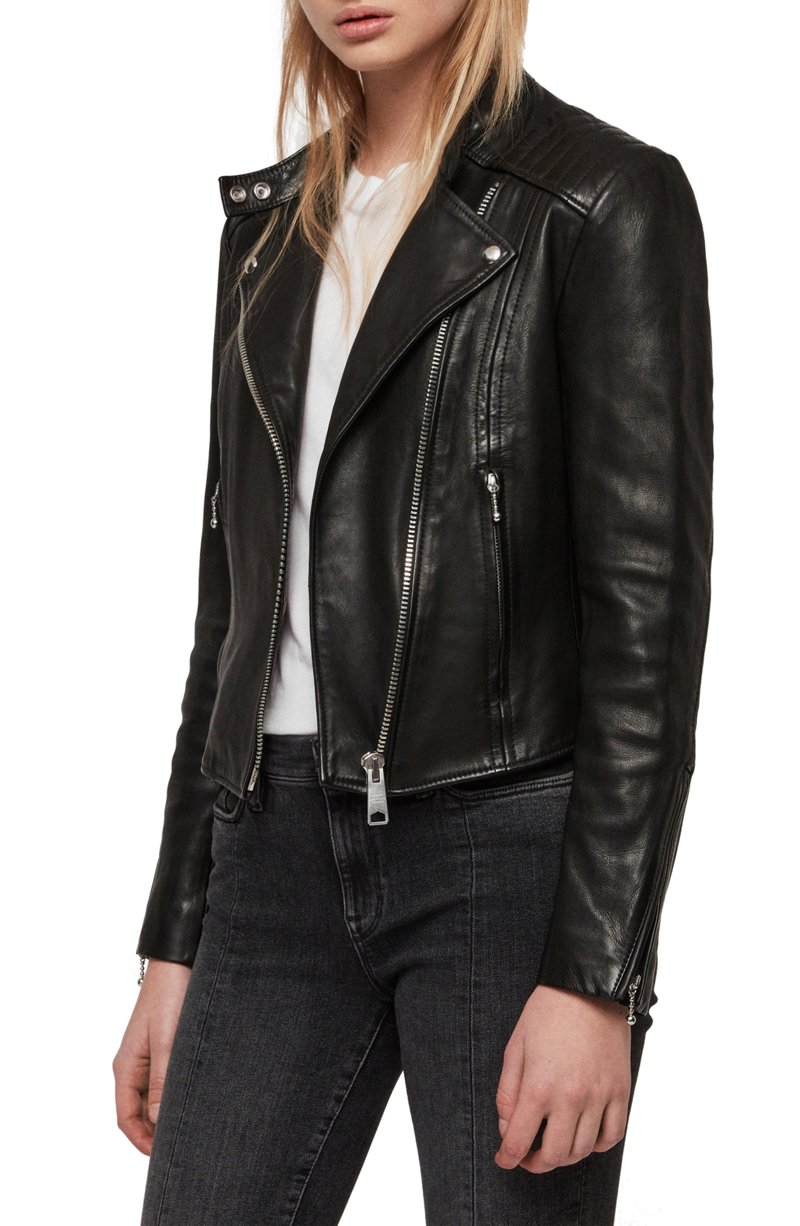 ALLSAINTS, Bircham Leather Biker Jacket, Main thumbnail 1, color, BLACK