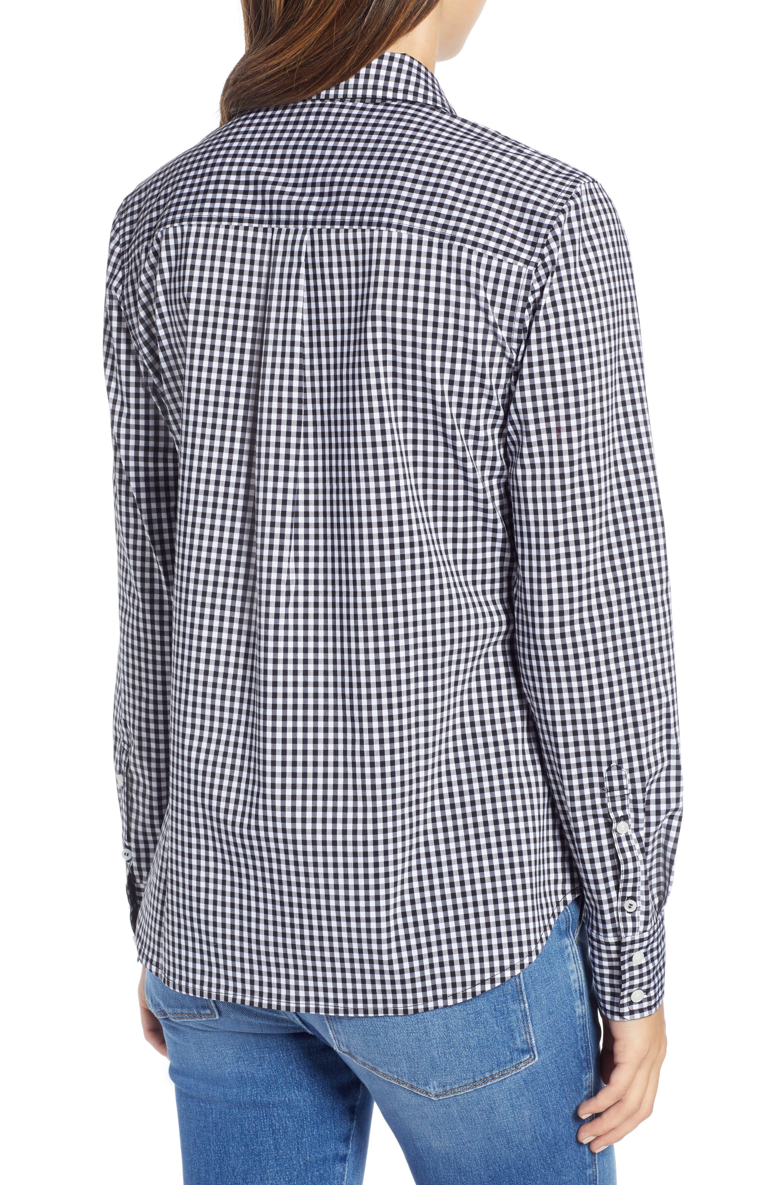 1901, Stretch Cotton Blend Shirt, Alternate thumbnail 2, color, BLACK GINGHAM