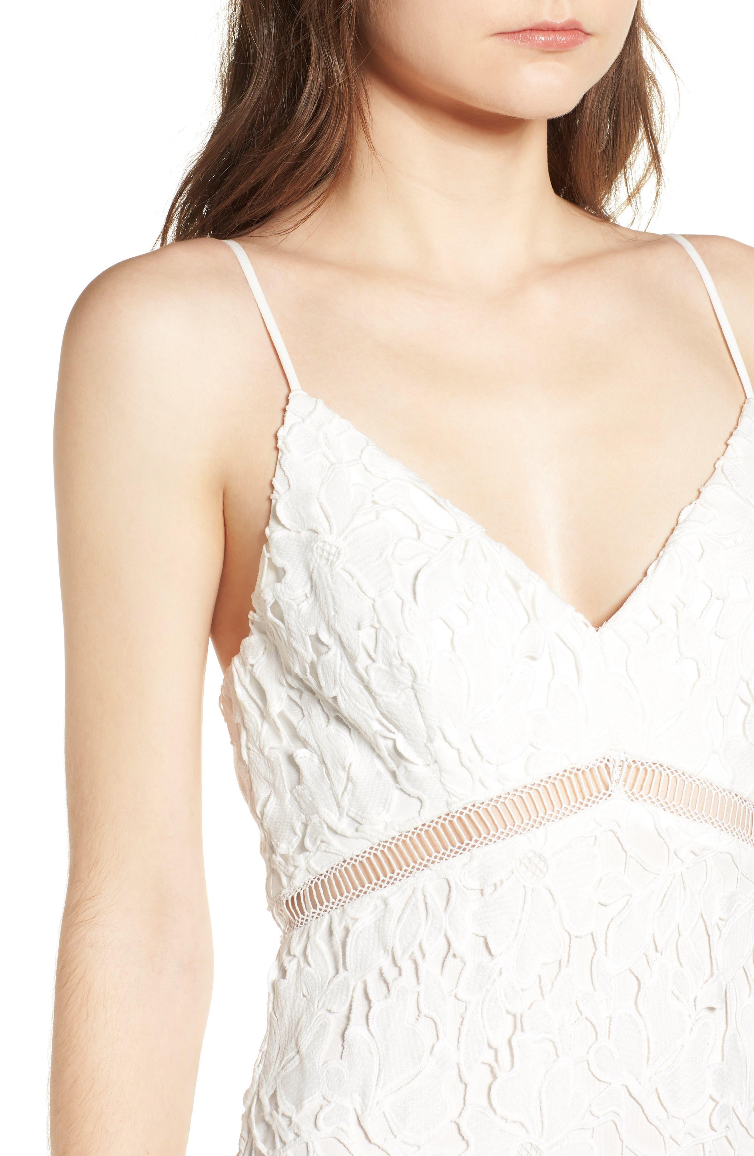 ASTR THE LABEL, ASTR Lace Bodycon Dress, Alternate thumbnail 5, color, WHITE
