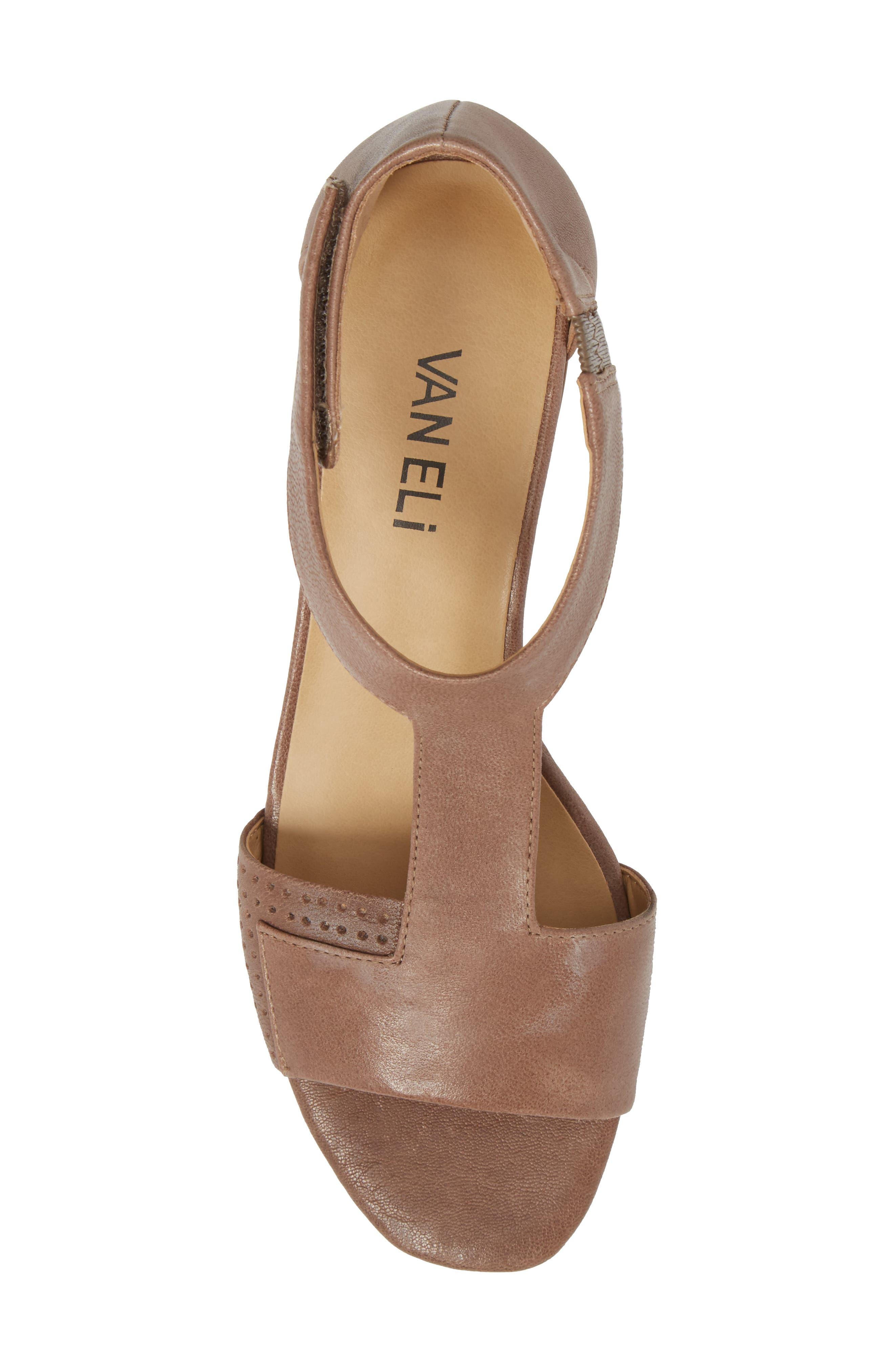VANELI, Calyx Block Heel Sandal, Alternate thumbnail 5, color, STONE LEATHER