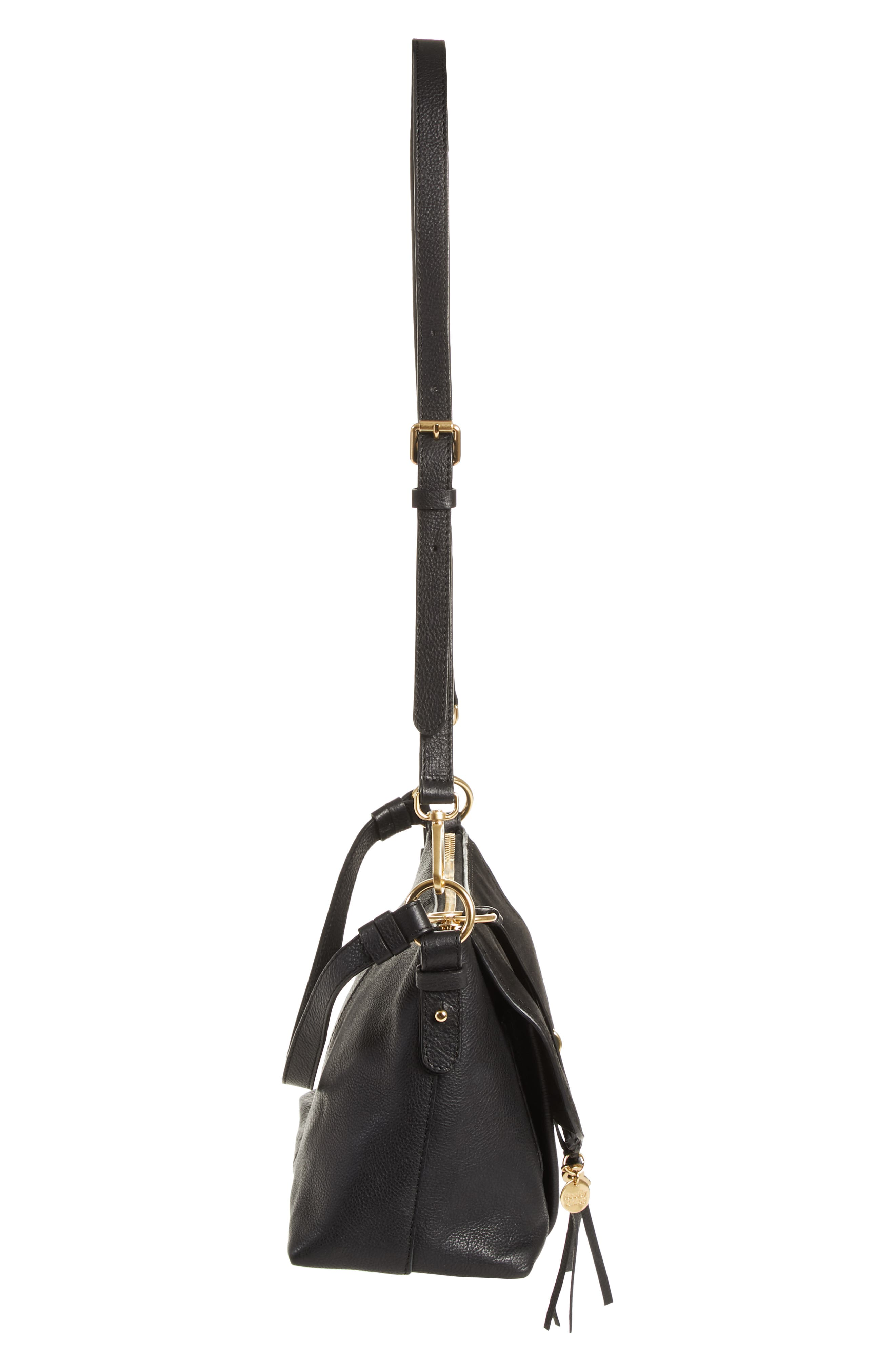 SEE BY CHLOÉ, Small Joan Suede & Leather Crossbody Bag, Alternate thumbnail 5, color, BLACK