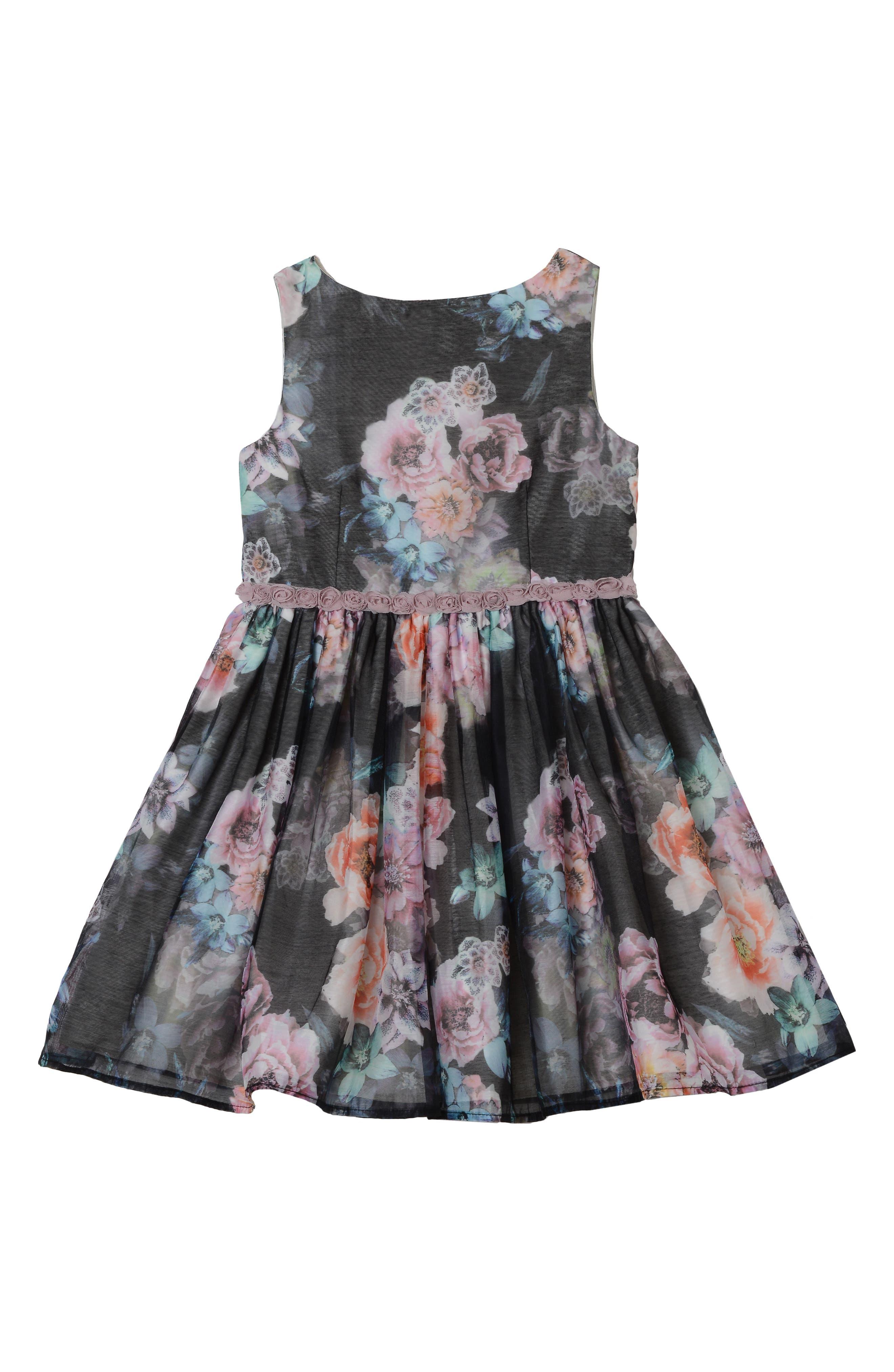 PASTOURELLE BY PIPPA & JULIE, Floral Print Dress, Main thumbnail 1, color, BLACK 6
