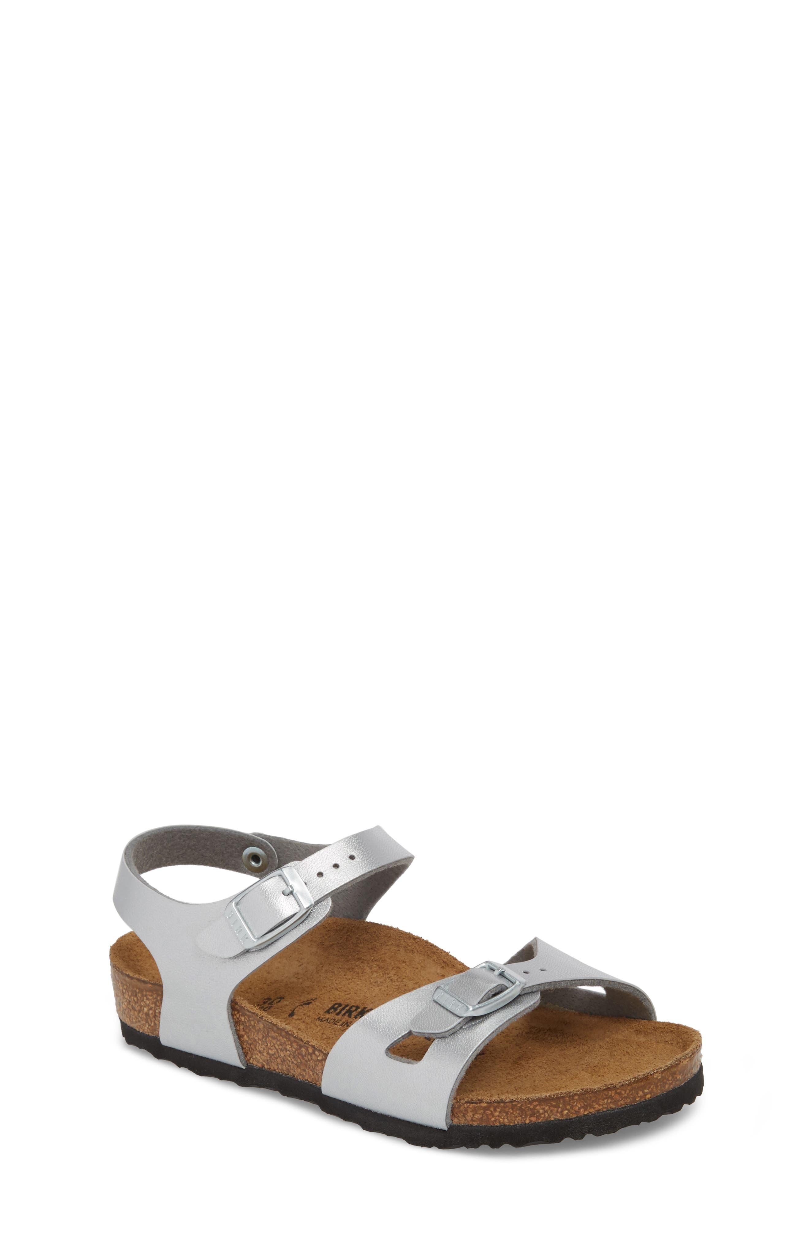 BIRKENSTOCK Rio Metallic Sandal, Main, color, SILVER