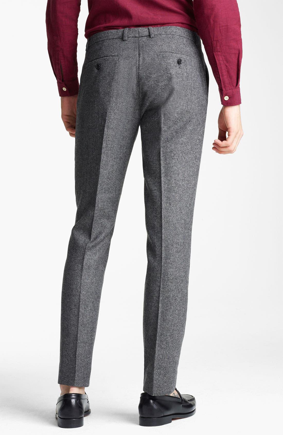 TOPMAN, 'Vento' Tweed Skinny Trousers, Alternate thumbnail 3, color, 020