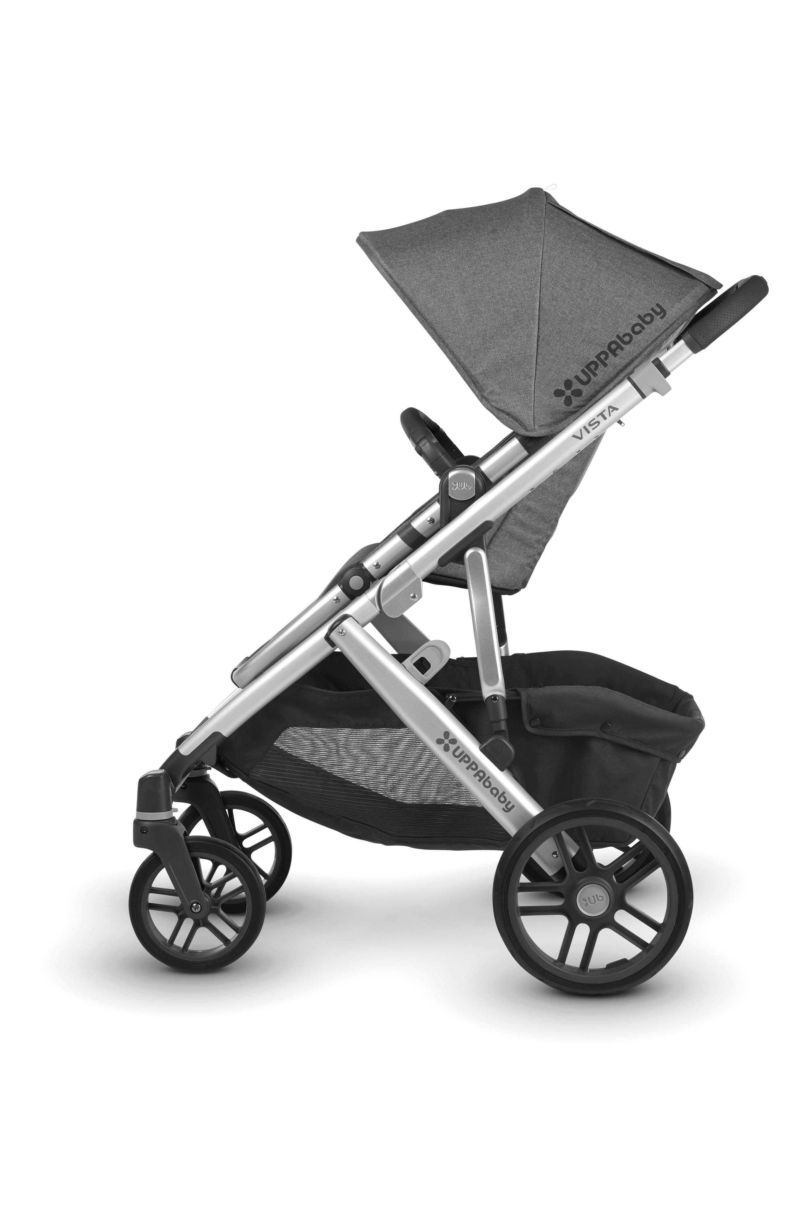 UPPABABY, 2018 VISTA Aluminum Frame Convertible Complete Stroller with Leather Trim, Alternate thumbnail 2, color, JORDAN CHARCOAL/ SILVER