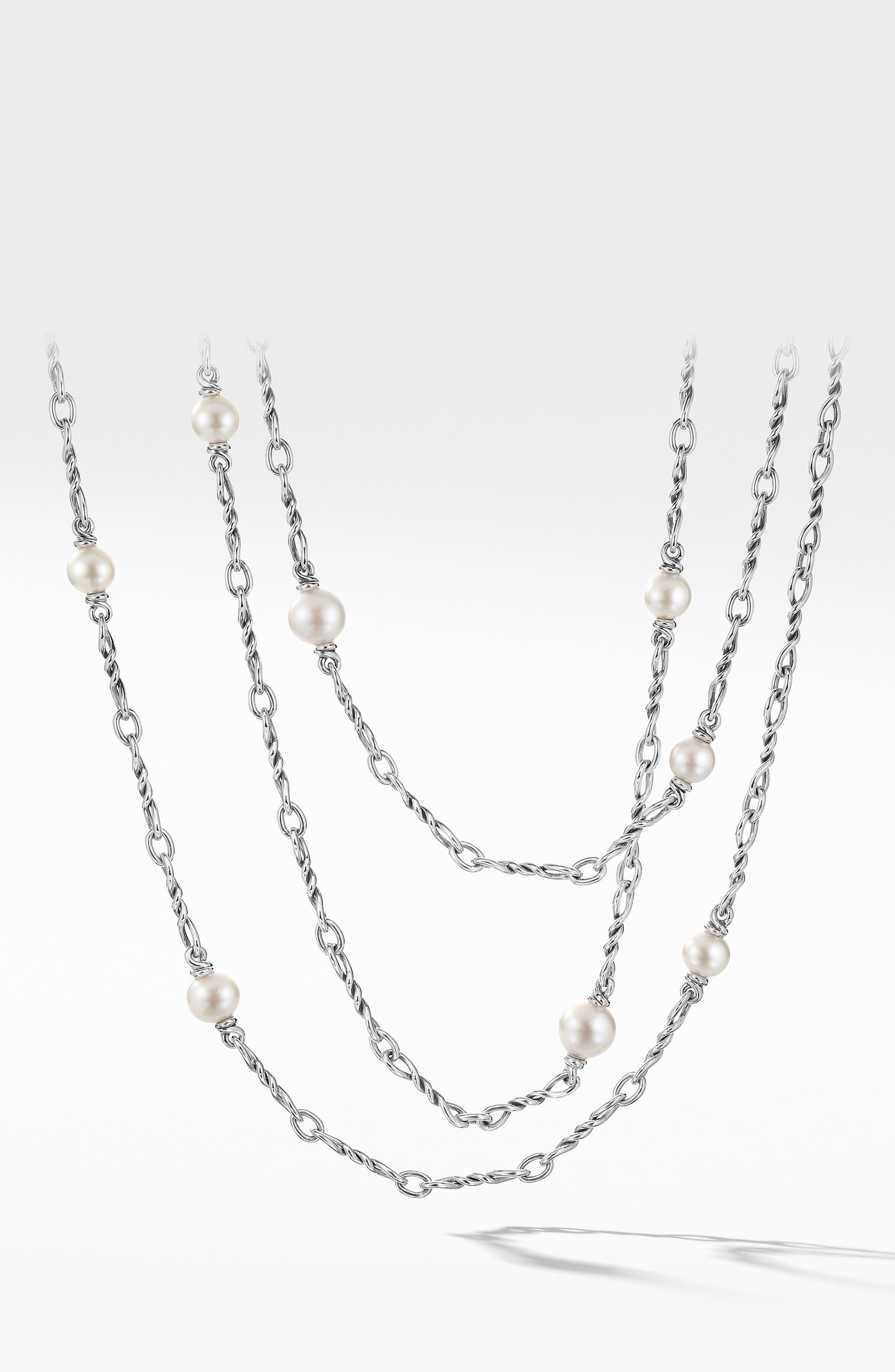 DAVID YURMAN, Continuance Pearl Small Chain Necklace, Main thumbnail 1, color, SILVER/ PEARL