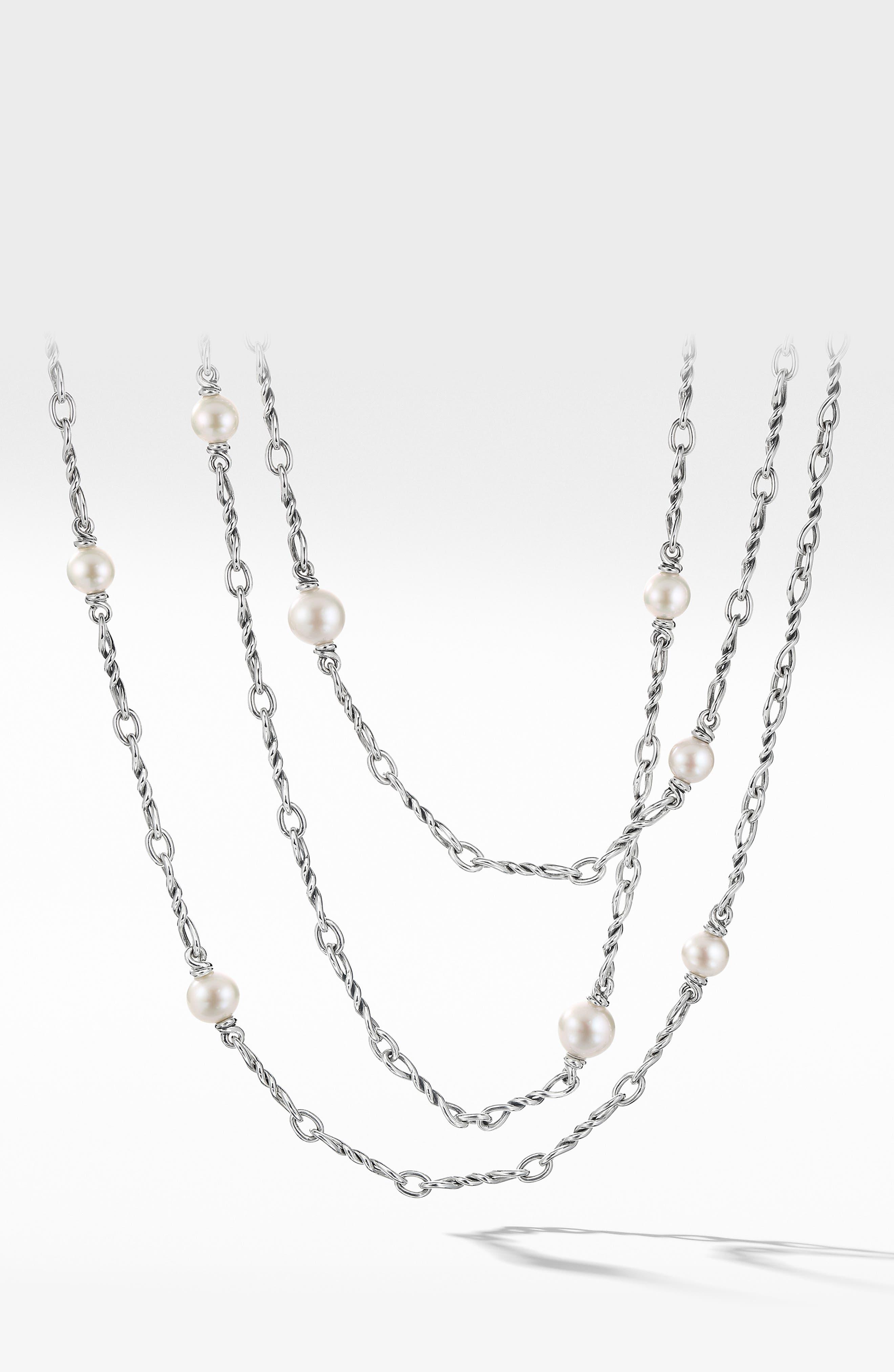 DAVID YURMAN Continuance Pearl Small Chain Necklace, Main, color, SILVER/ PEARL