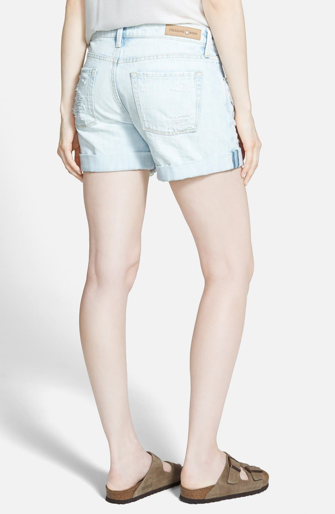 TREASURE & BOND, Treasure&Bond Roll-Up Denim Boyfriend Shorts, Alternate thumbnail 3, color, 400