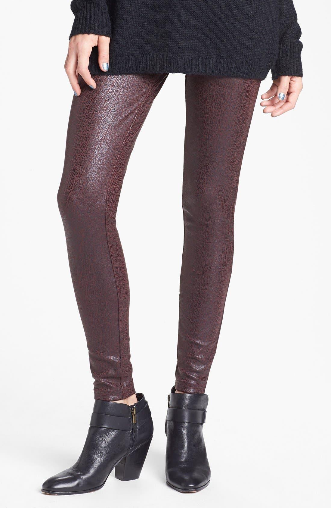 BP. Crackled Faux Leather Leggings, Main, color, 600