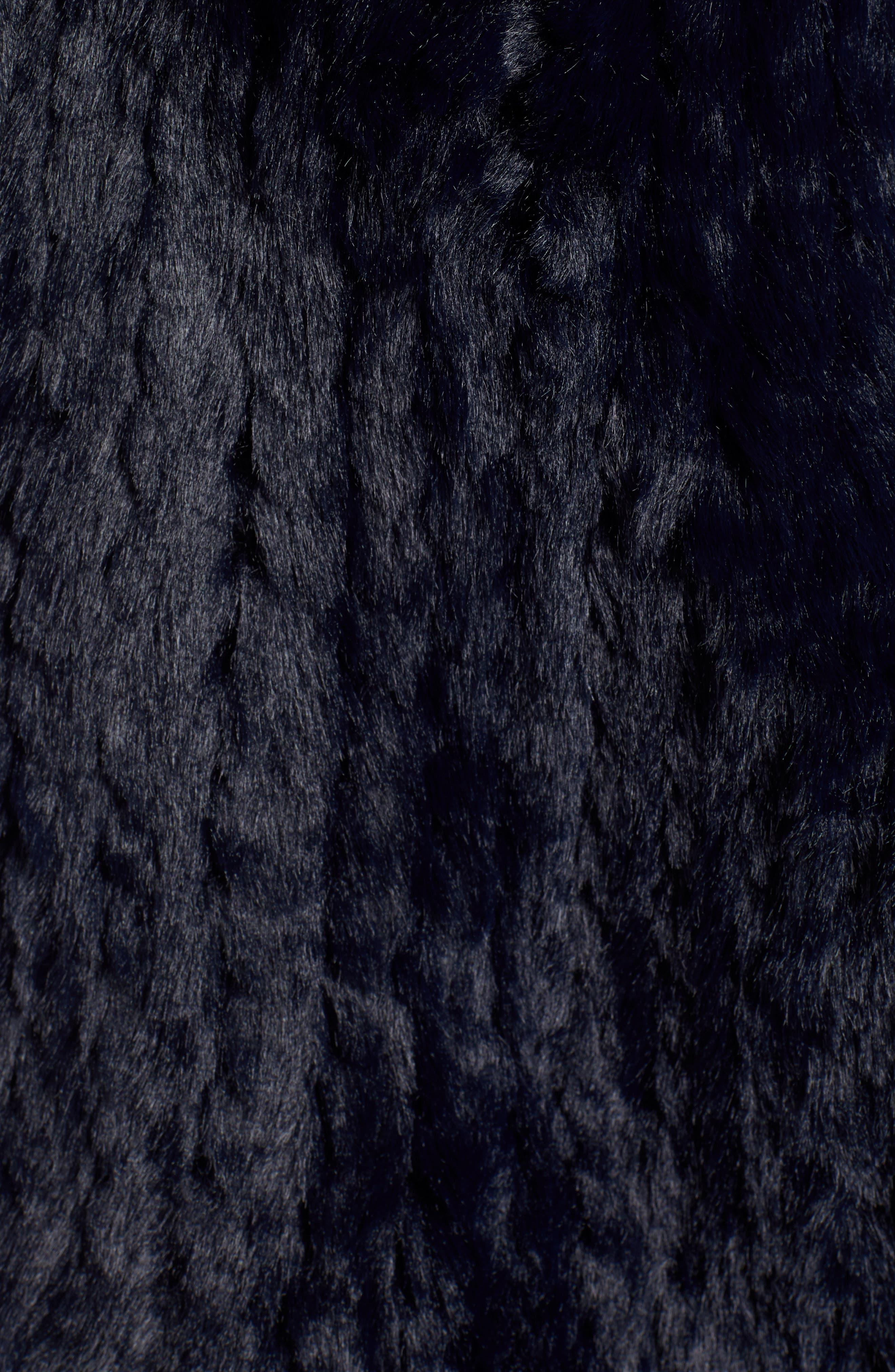 LOVE TOKEN, Faux Fur Vest, Alternate thumbnail 7, color, NAVY
