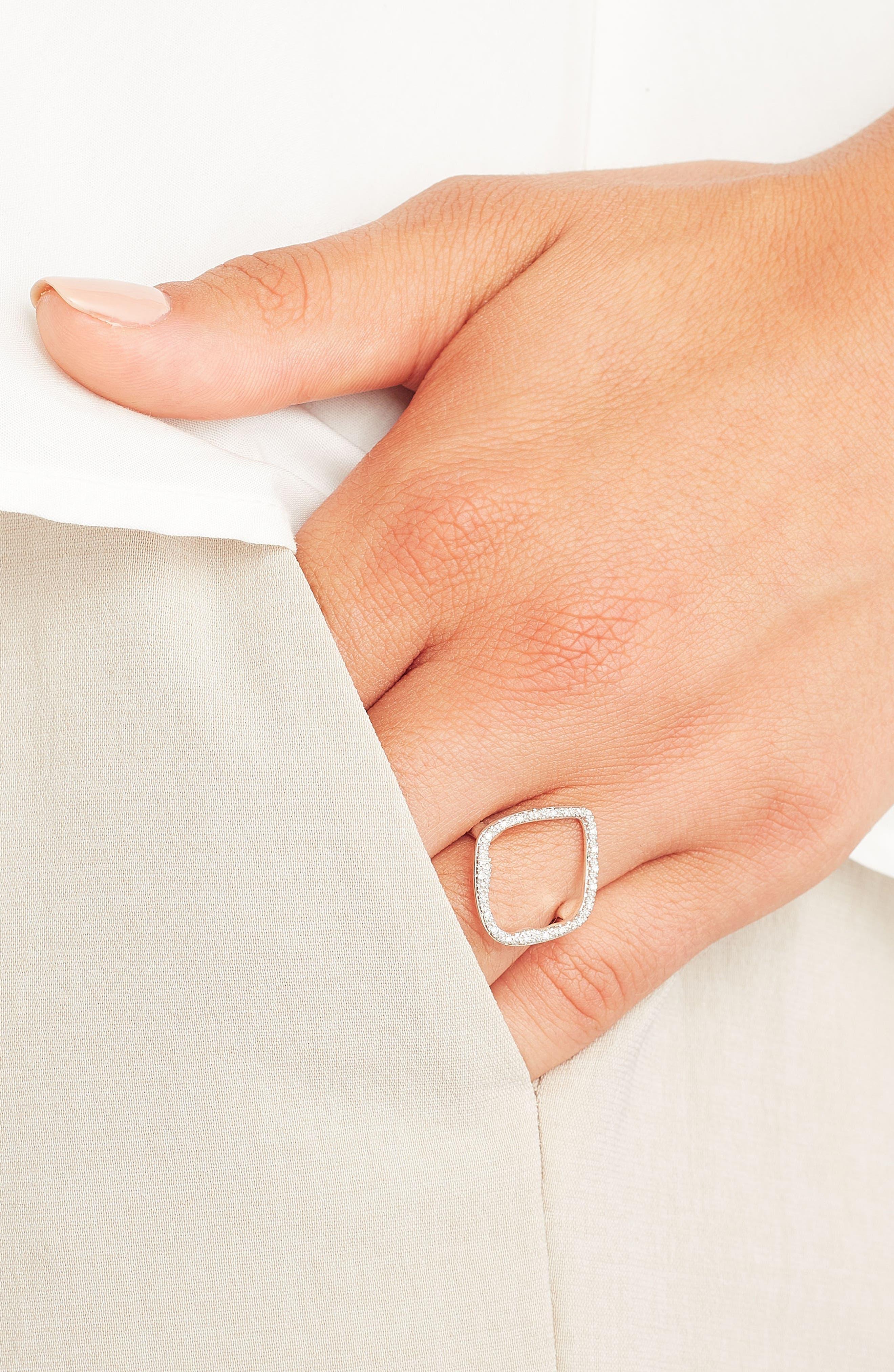 MONICA VINADER, Riva Hoop Diamond Ring, Alternate thumbnail 3, color, SILVER