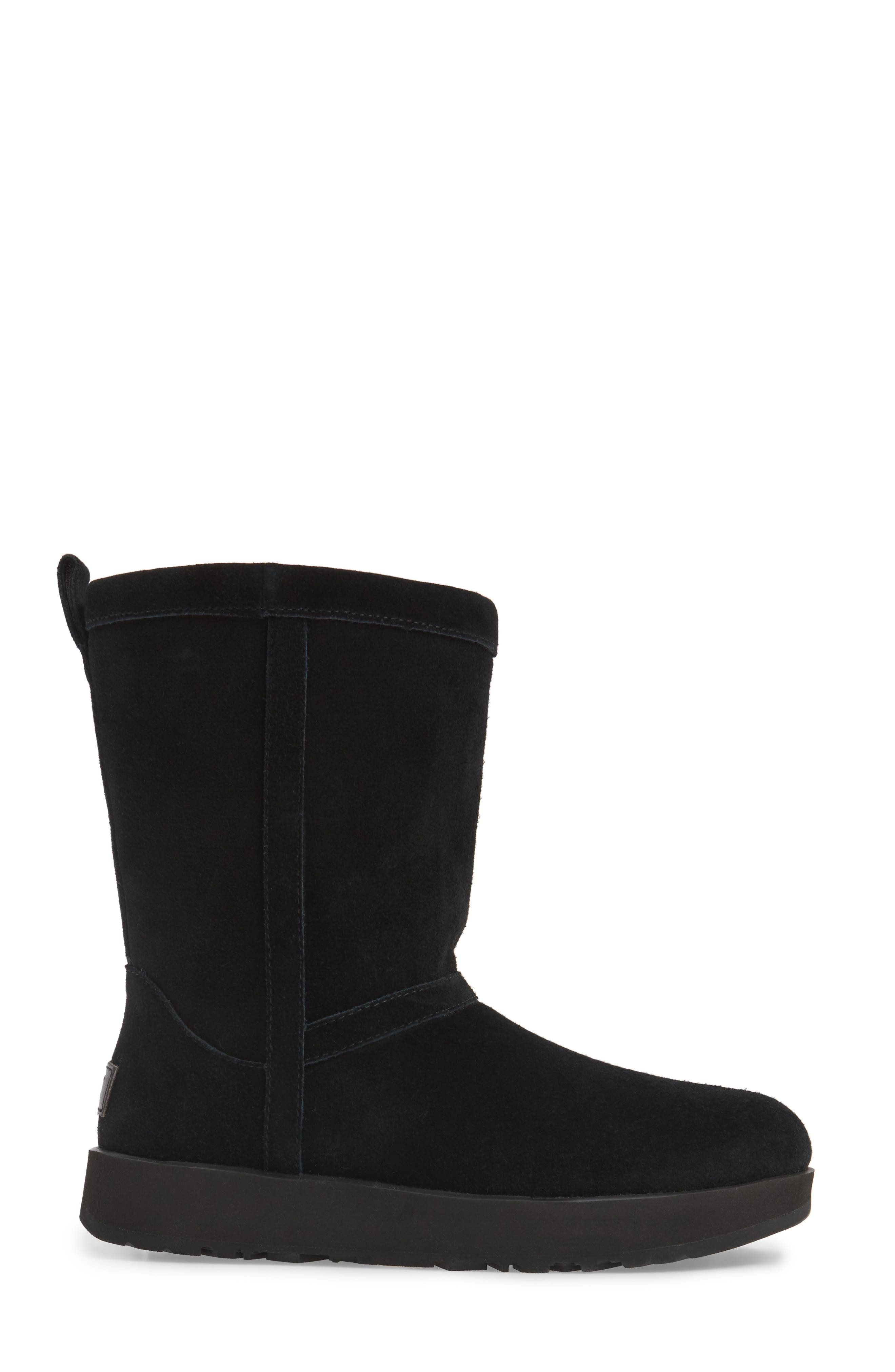 UGG<SUP>®</SUP>, Classic Short Waterproof Boot, Alternate thumbnail 3, color, BLACK SUEDE