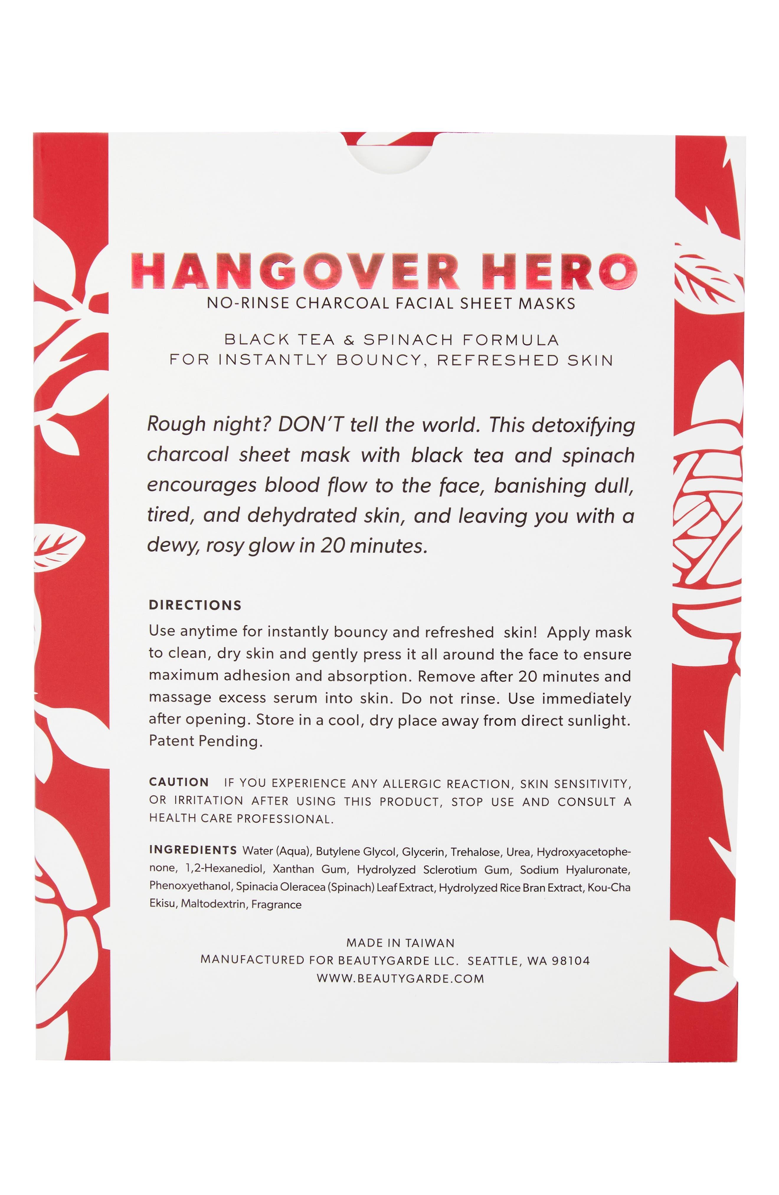 BEAUTYGARDE, Hangover Hero Sheet Mask, Alternate thumbnail 2, color, NO COLOR