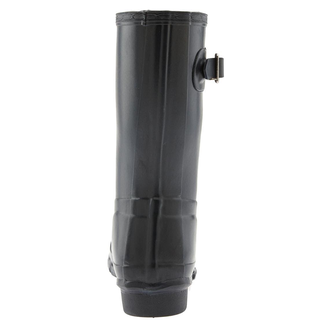 HUNTER, Original Short Gloss Waterproof Rain Boot, Alternate thumbnail 4, color, BLACK