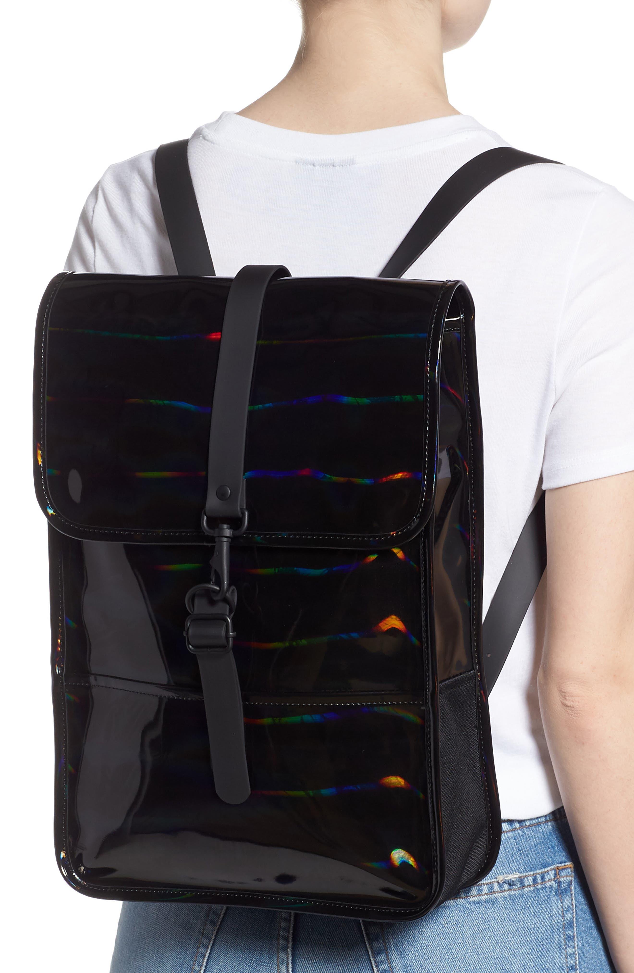 RAINS, Mini Waterproof Holographic Backpack, Alternate thumbnail 2, color, BLACK