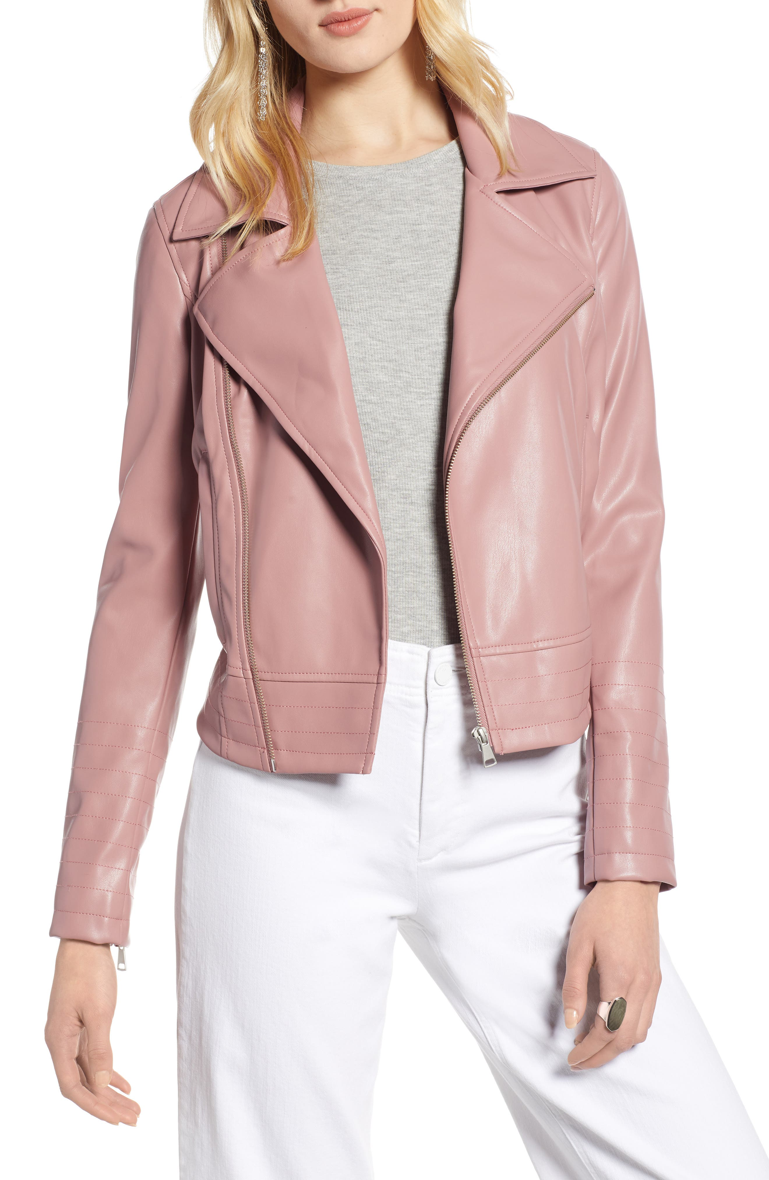 HALOGEN<SUP>®</SUP>, Quilted Faux Leather Moto Jacket, Main thumbnail 1, color, ROUGE